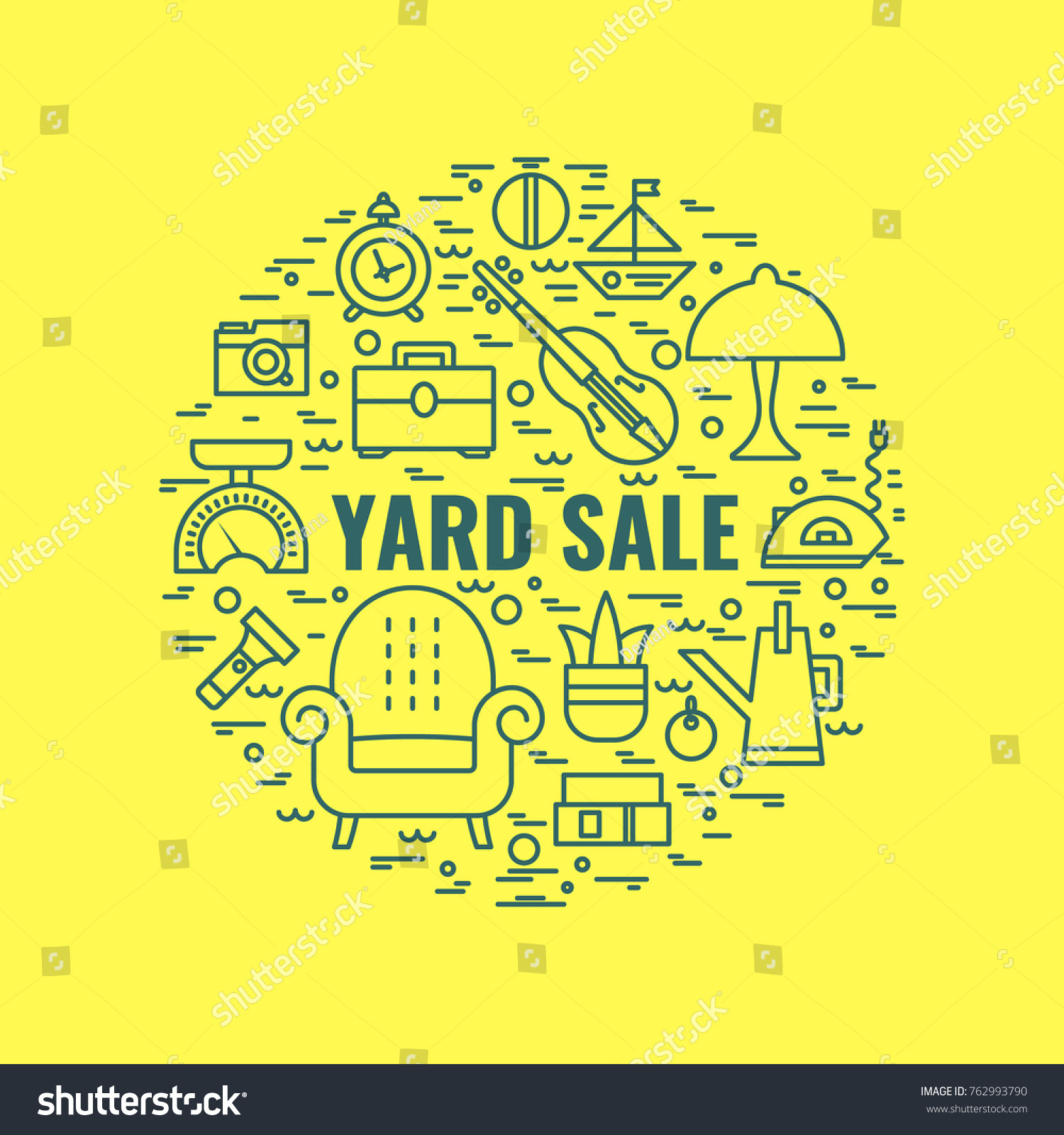 Yard Sale Sign Template Poster Banner Stock Vector (2018) 762993790 ...