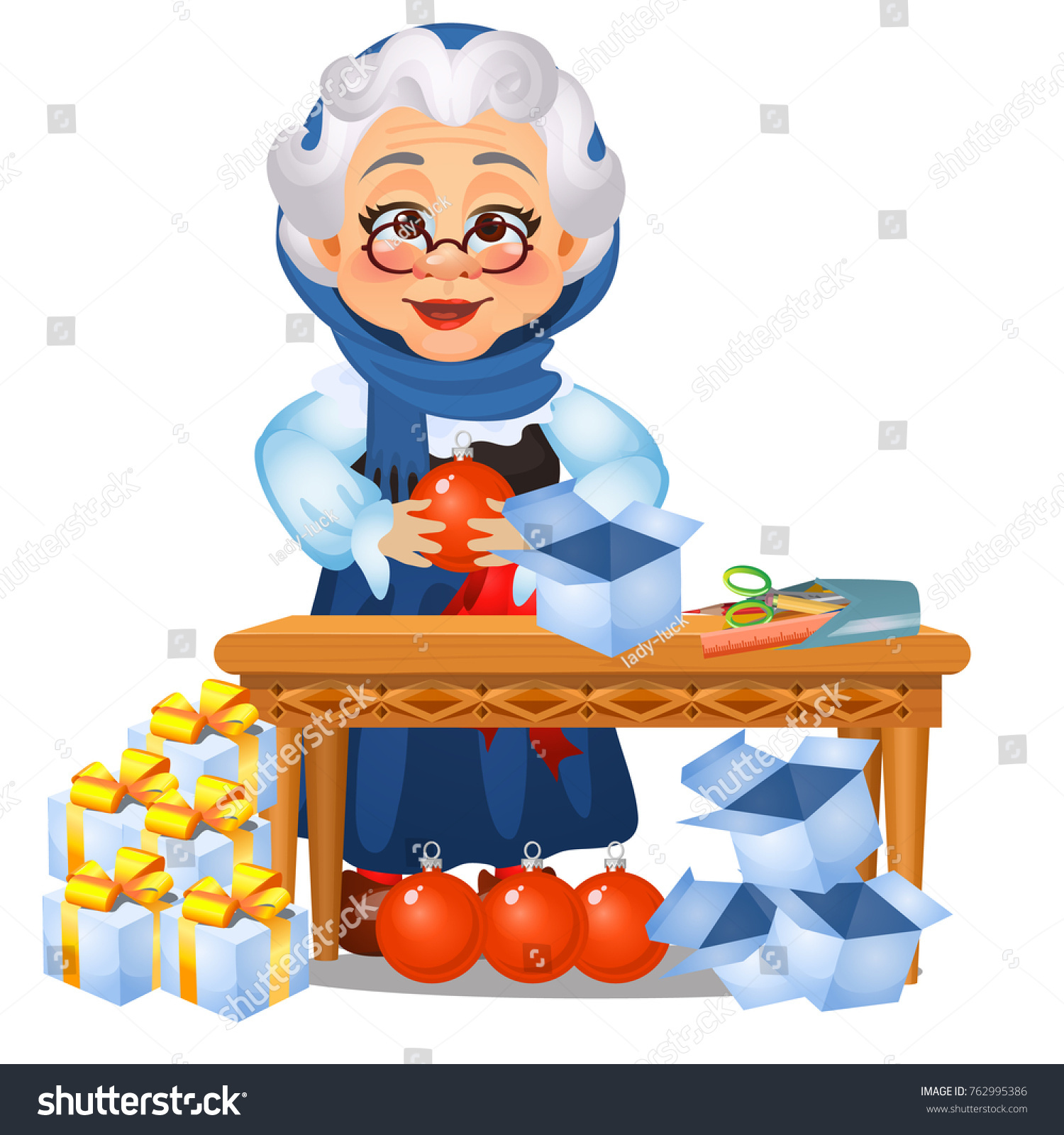 Funny Animated Old Lady Touches On Stock Vector (Royalty Free ...