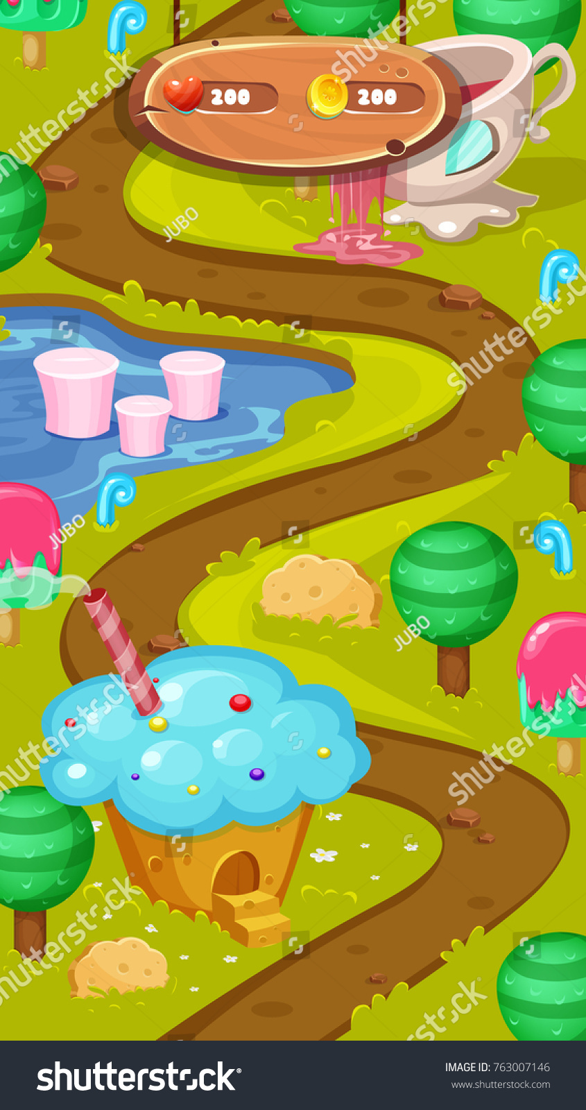 Level map assetssweet world mobile game vectores en stock 763007146 level map assetssweet world mobile game user interface gui map screen forest gumiabroncs Gallery