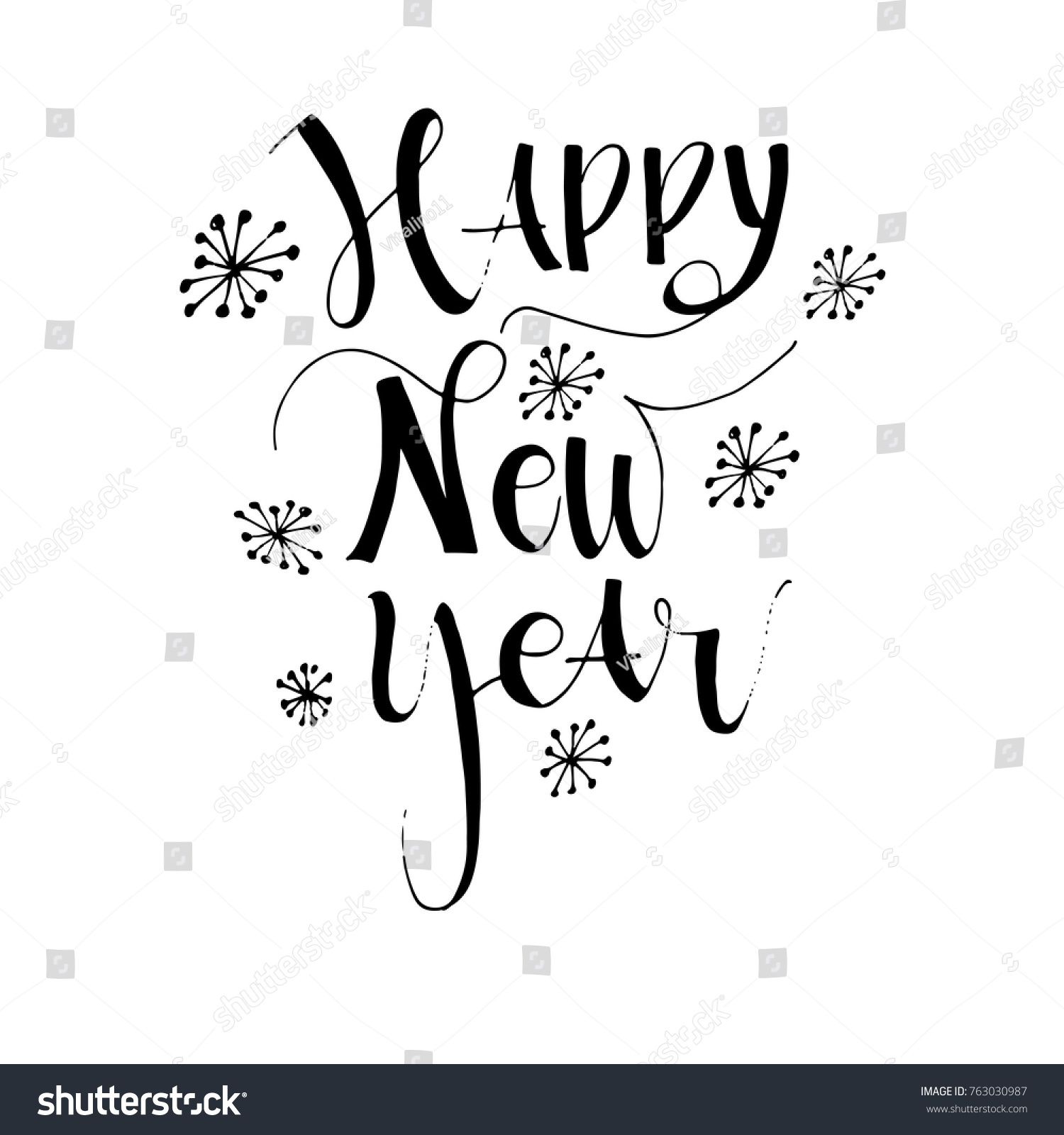 happy new year card hand drawn greeting phrase modern brush calligraphy isolated on