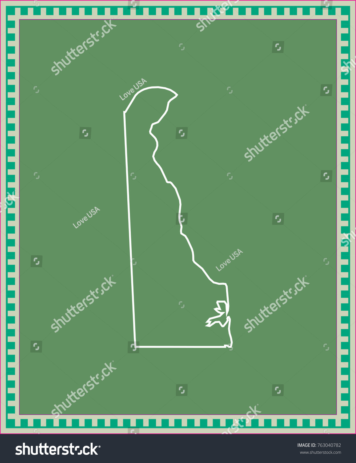 delaware state usa map vector outline stock vector 763040782 stock vector delaware state of usa map