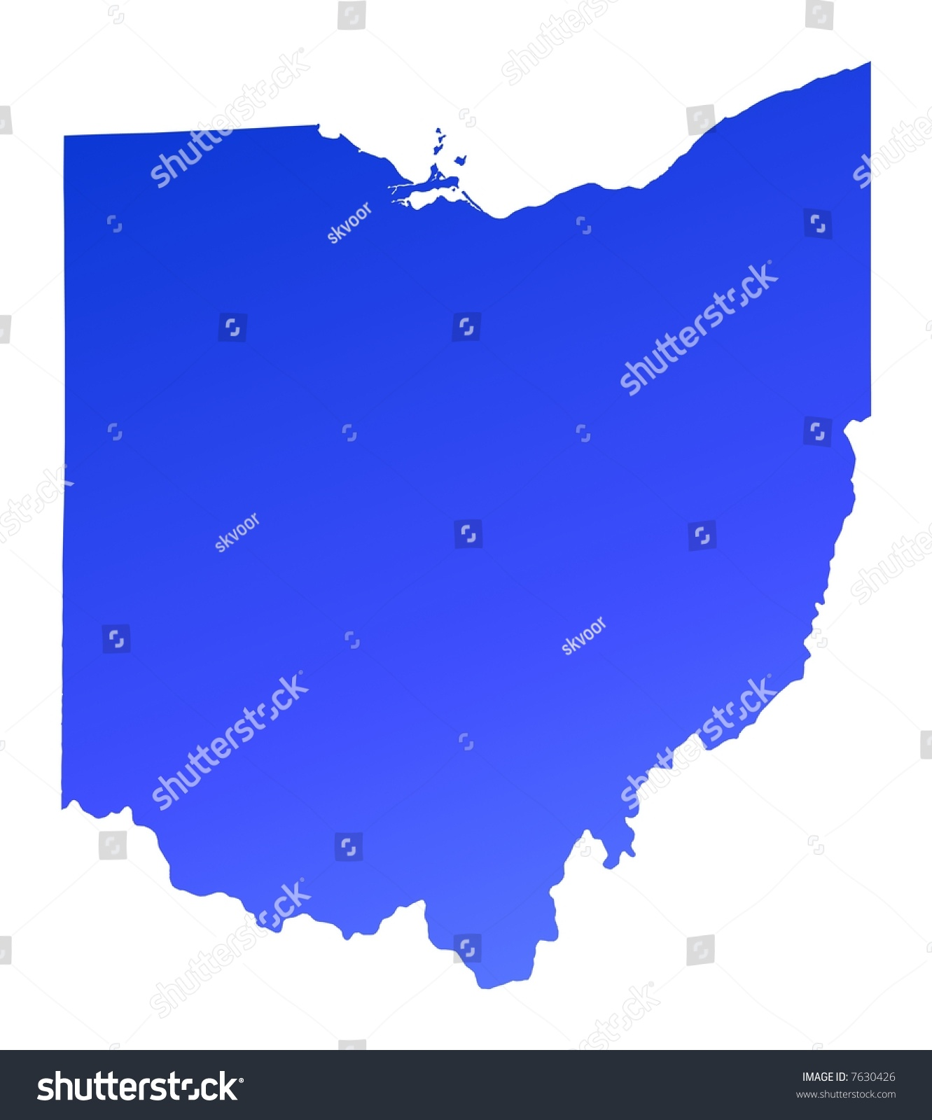 Blue Gradient Ohio Map Usa Detailed Stock Illustration - Ohio on the map of usa