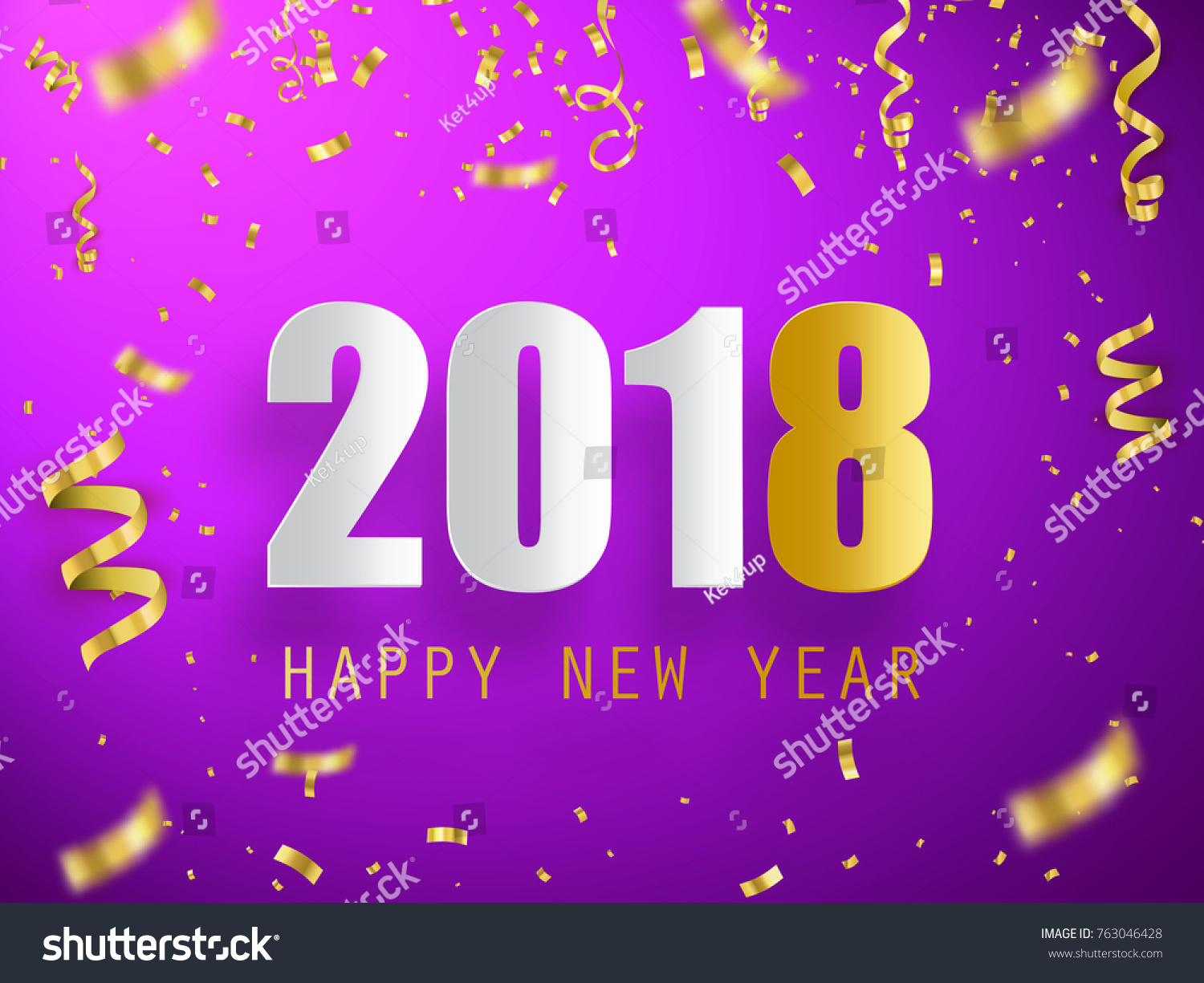 happy new year 2018 vector background with confetti