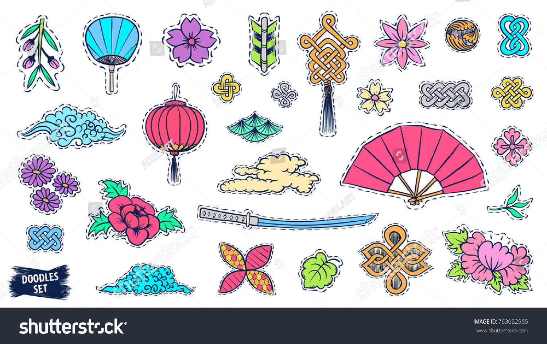 Asian Patch Badges Set Japanese Doodles Stock Vector 2018
