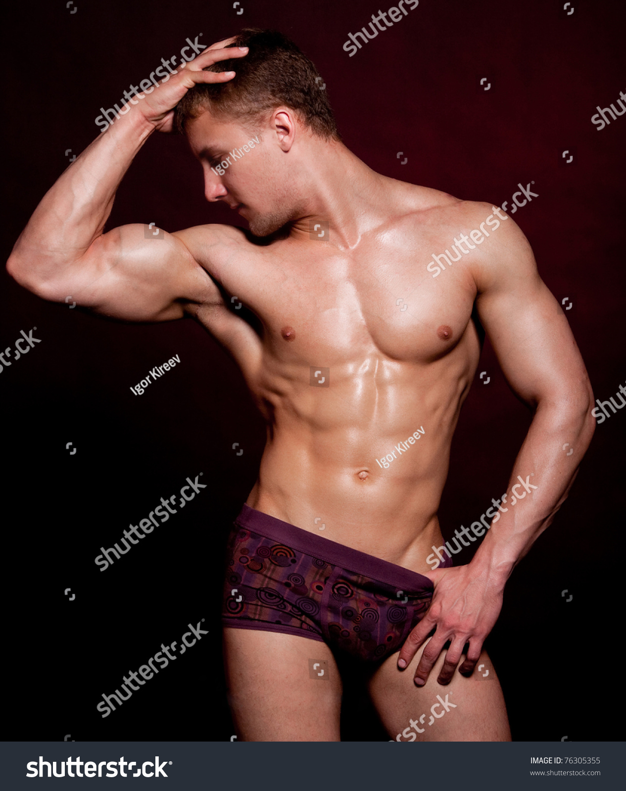 Strong Wet Sexy Nude Young Bodybuilder Stock Photo -2247