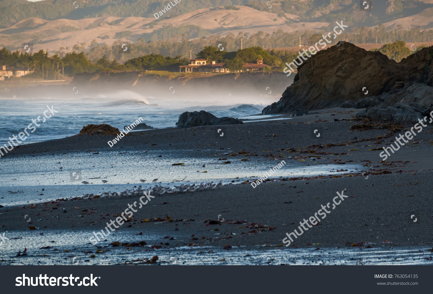 Early morning along the Pacific Coast of California at Leffingwell Landing State Park, looking toward the hills of San Simeon, not far from the Hearst Castle, a famous tourist attraction.