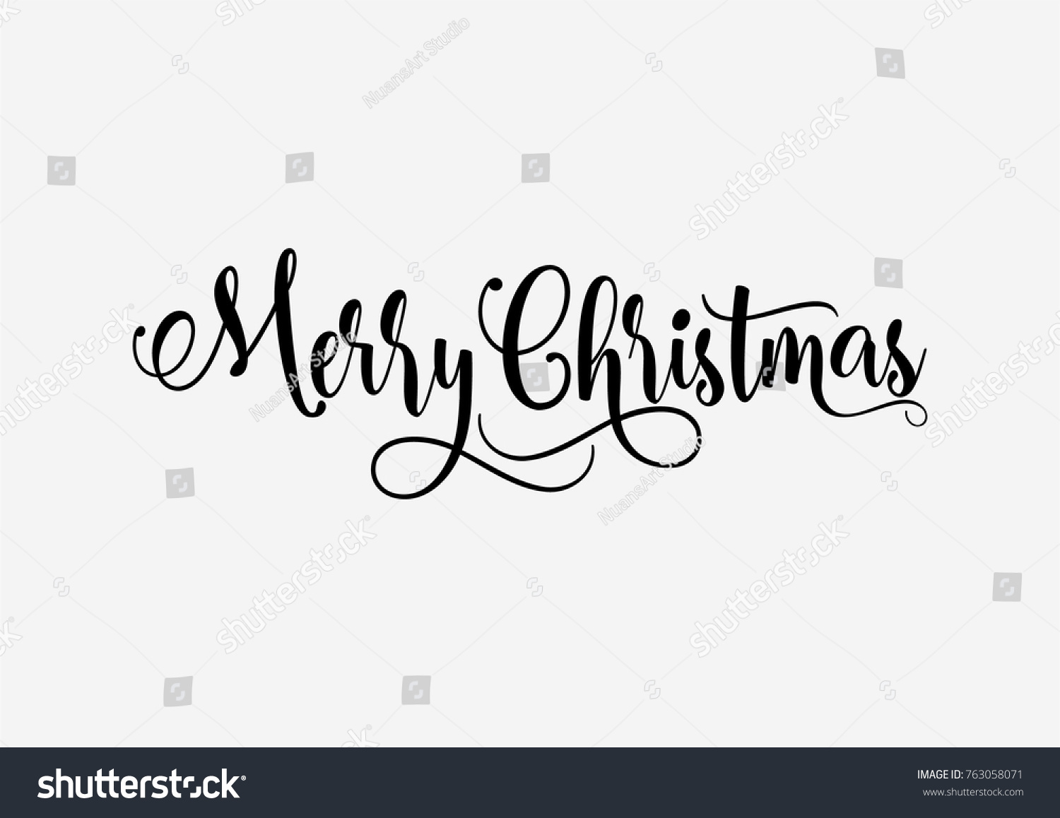 hand lettering merry christmas vector text stock vector royalty