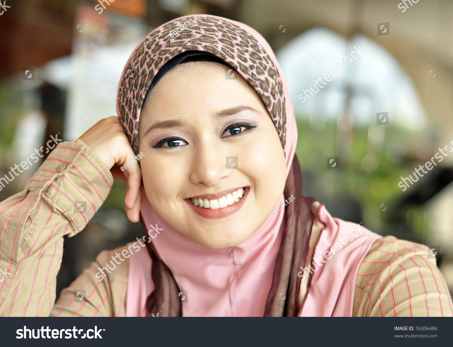 close lovely muslim girl sweet smile stock photo (download now