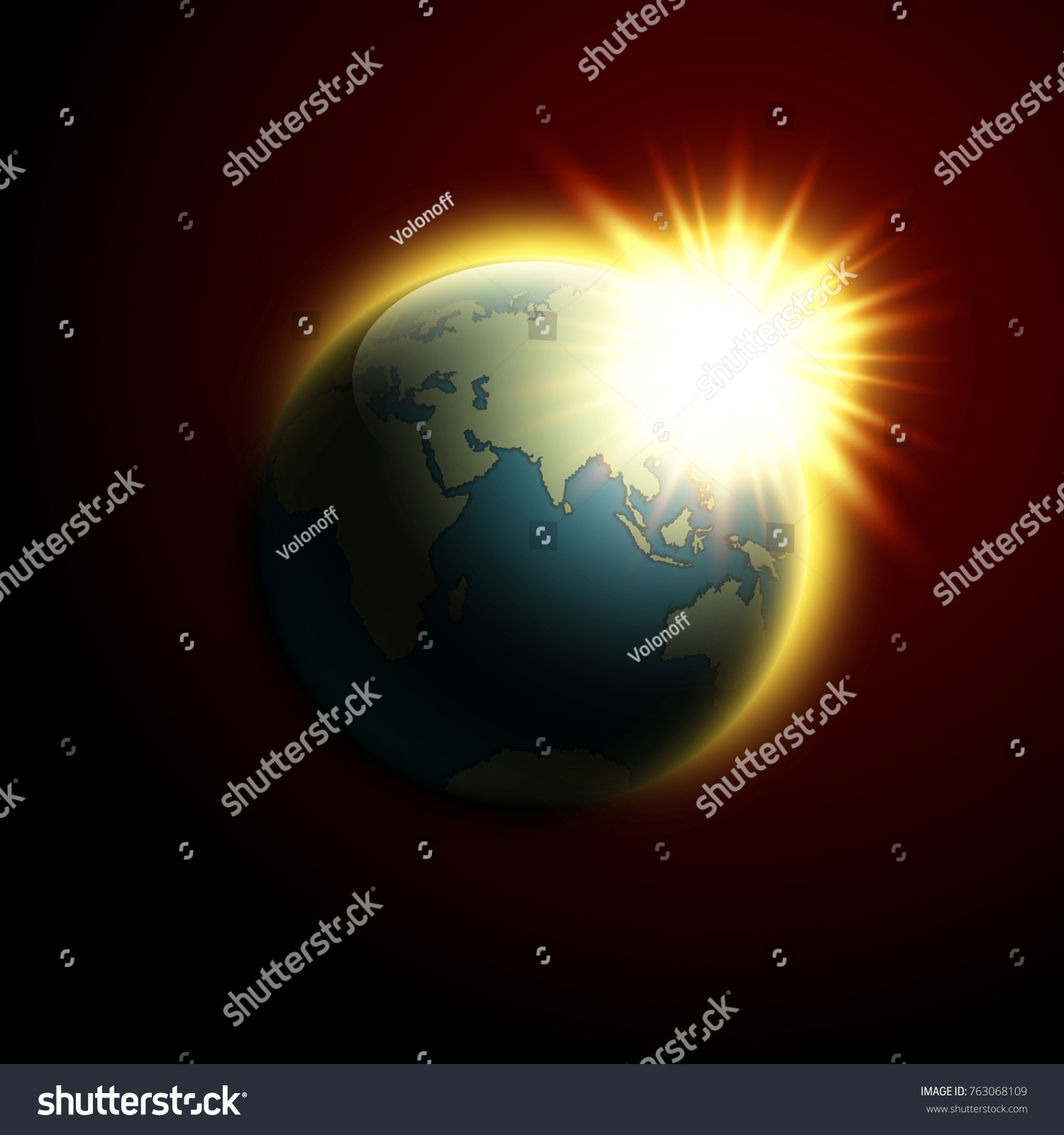 World map rising sun banner globe stock vector hd royalty free world map rising sun banner globe icon in space sunlight poster planet earth on gumiabroncs Images