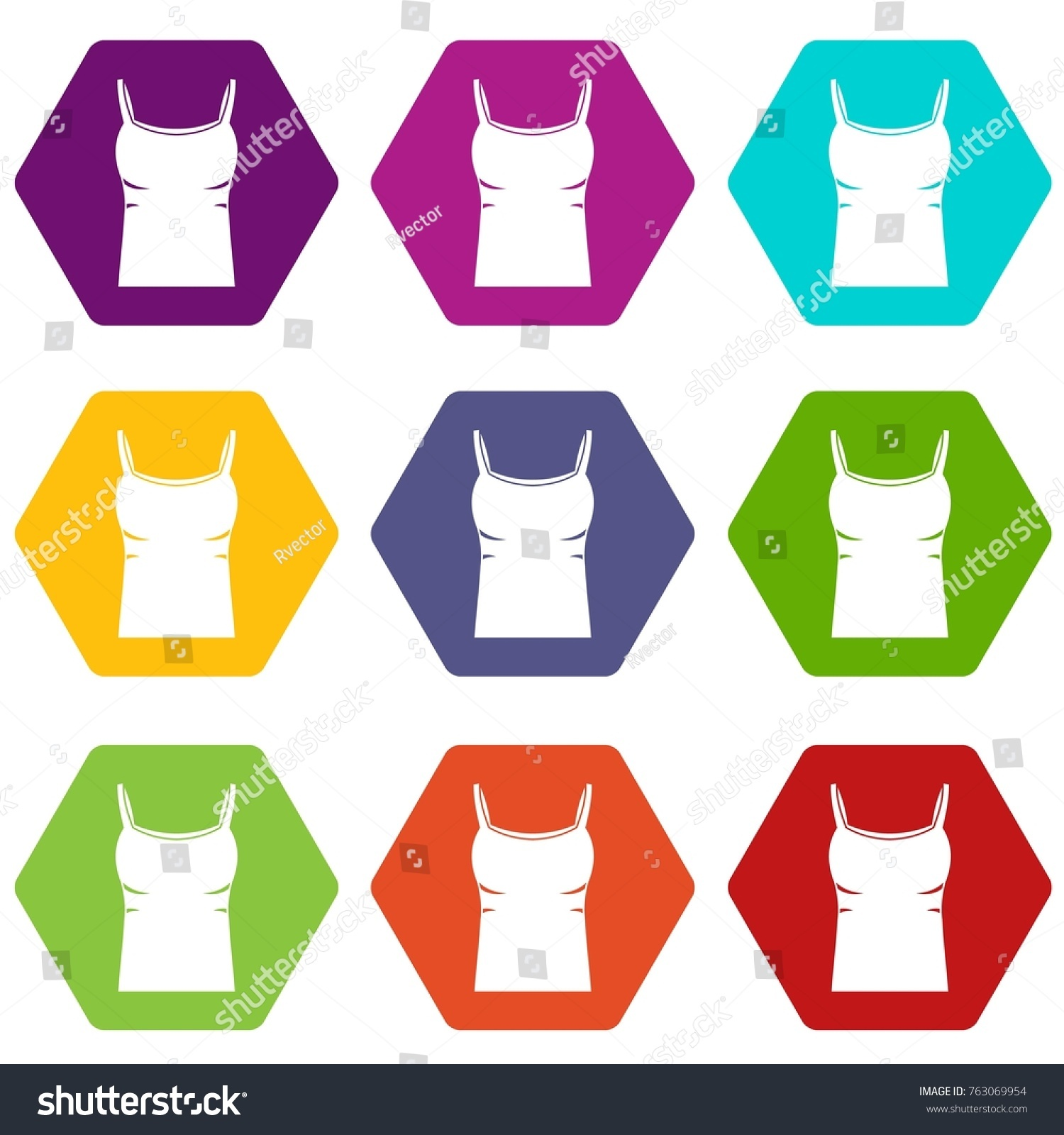 8e17f35d076a4 Blank women tank top icon set many color hexahedron isolated on white  vector illustration