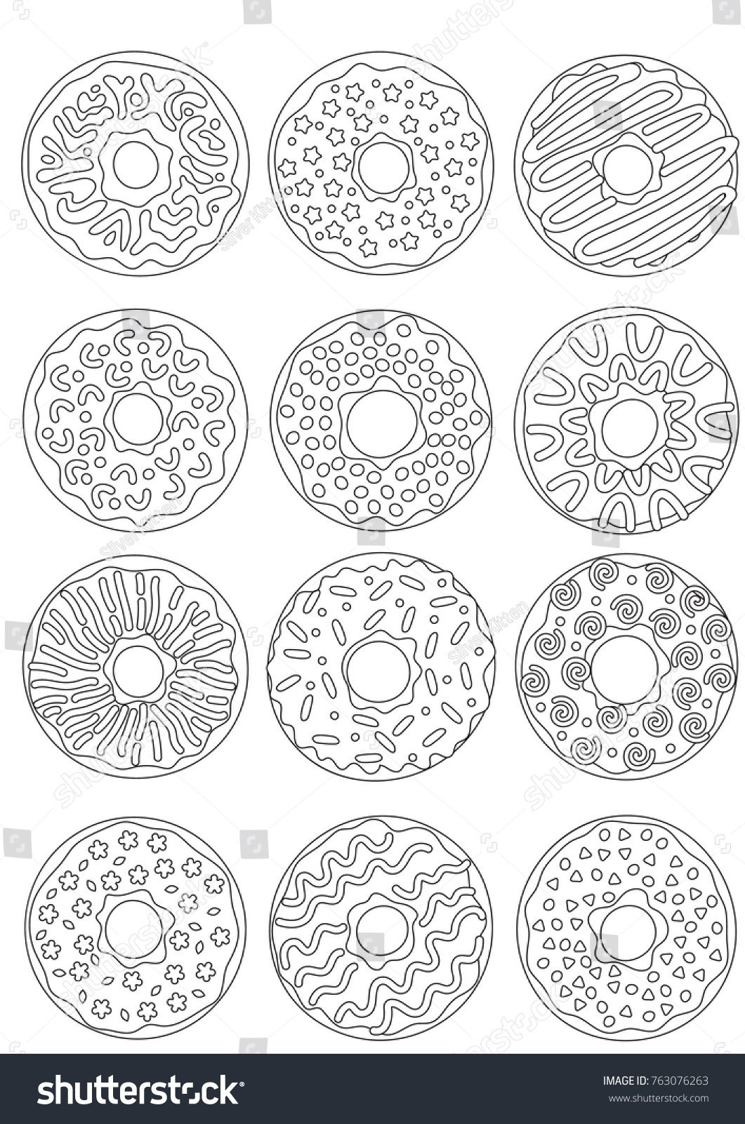 Outlined Zentangle Antistress Coloring Page Donuts Stock