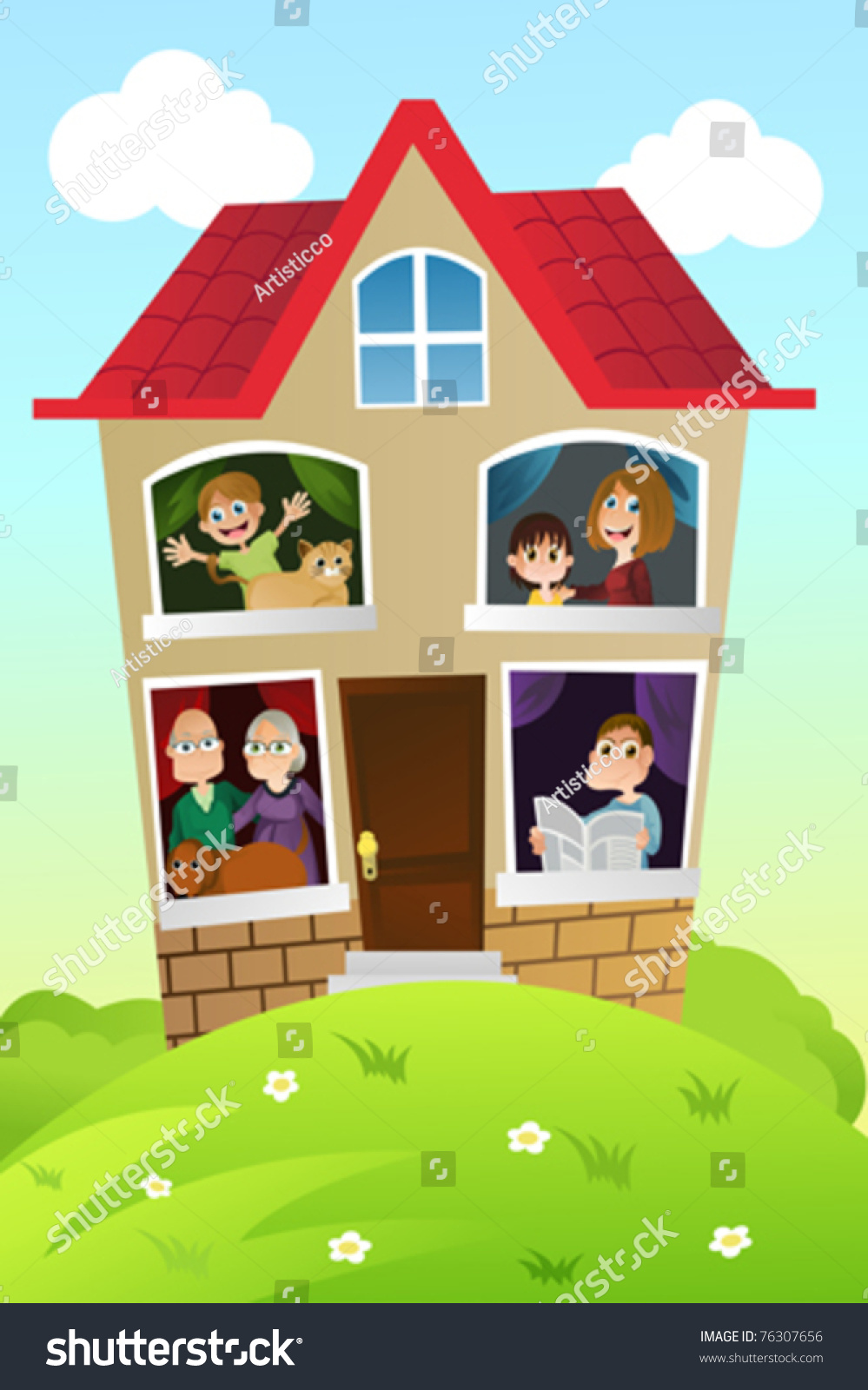 A Vector Illustration Of A Happy Family At Home - 76307656 ...
