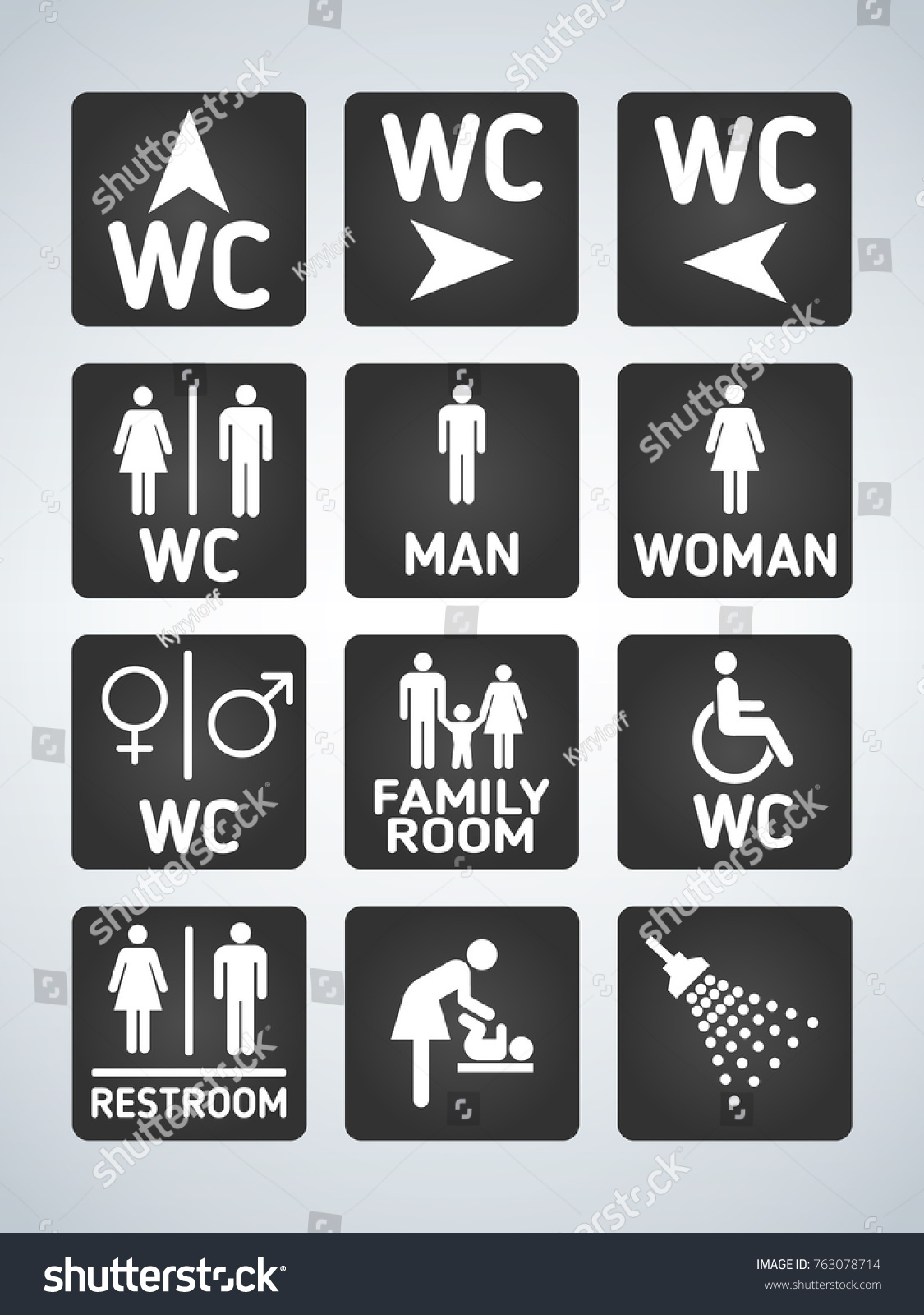 Toilet signs vector set stock images image 36323784 - Wc Toilet Door Plate Icons Set Stock Vector 763078714 Shutterstock Stock Vector Wc Toilet Door Plate Icons Set White On Black Men And Women Wc Sign For