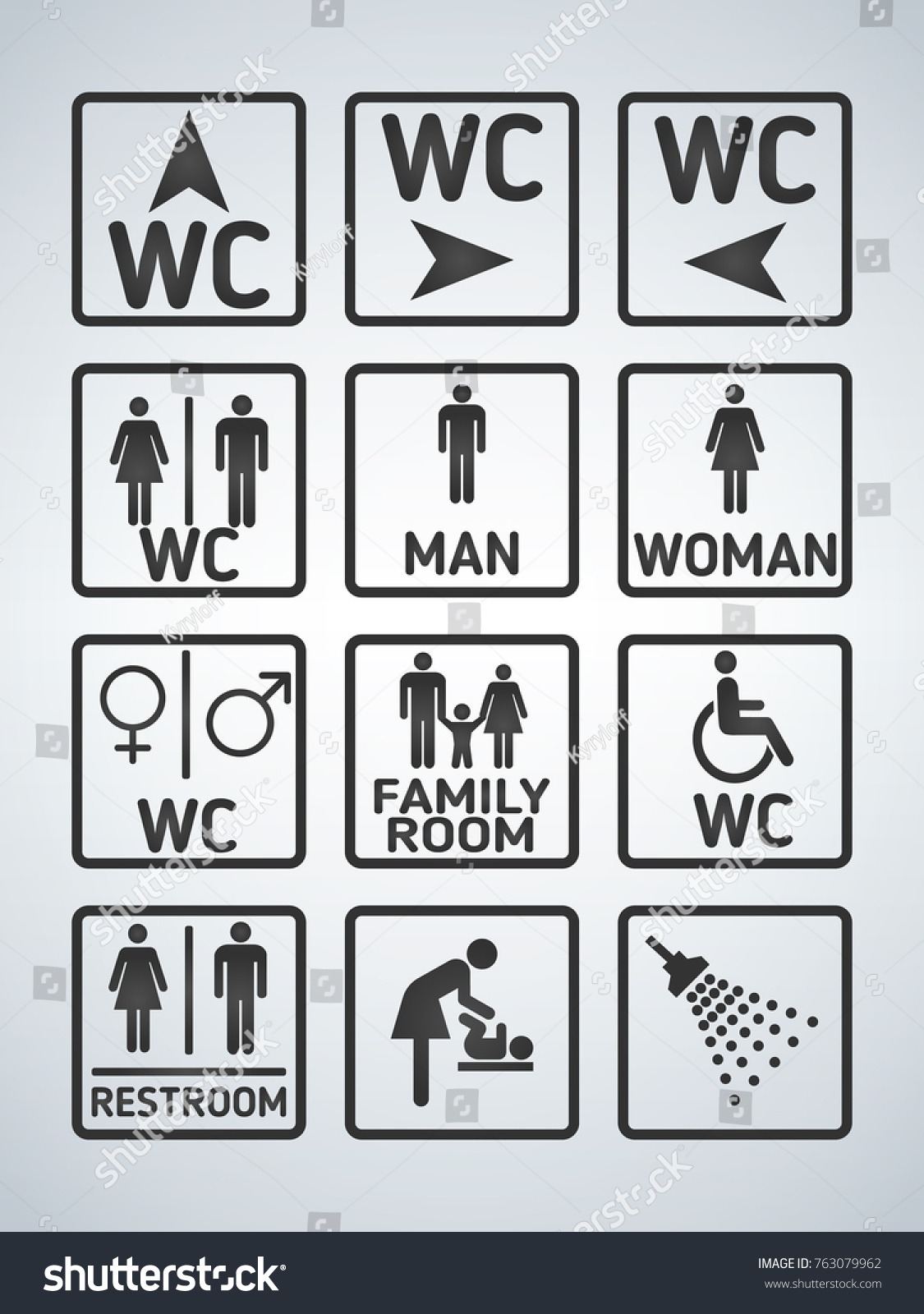 Toilet signs vector set stock images image 36323784 - Wc Toilet Door Plate Icons Set Stock Vector 763079962 Shutterstock Stock Vector Wc Toilet Door Plate Icons Set White On Black Men And Women Wc Sign For