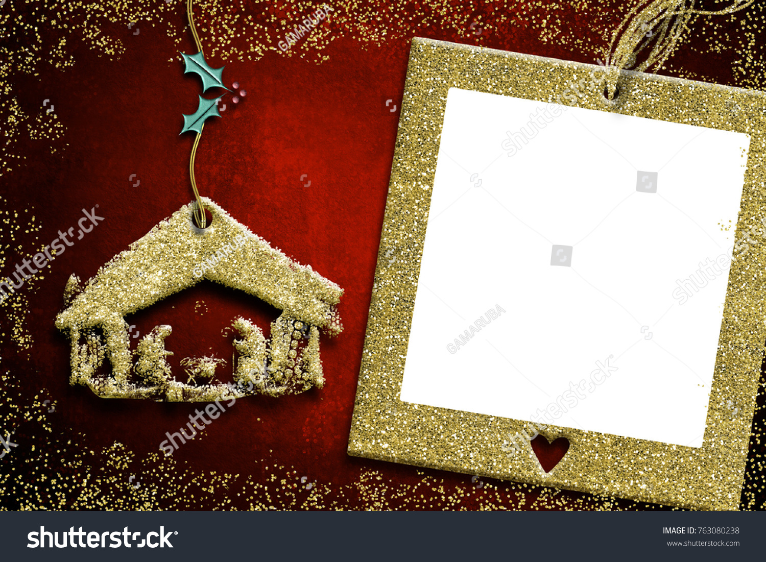 Photo Frame Christmas Cards Nativity Scene Stock Illustration ...