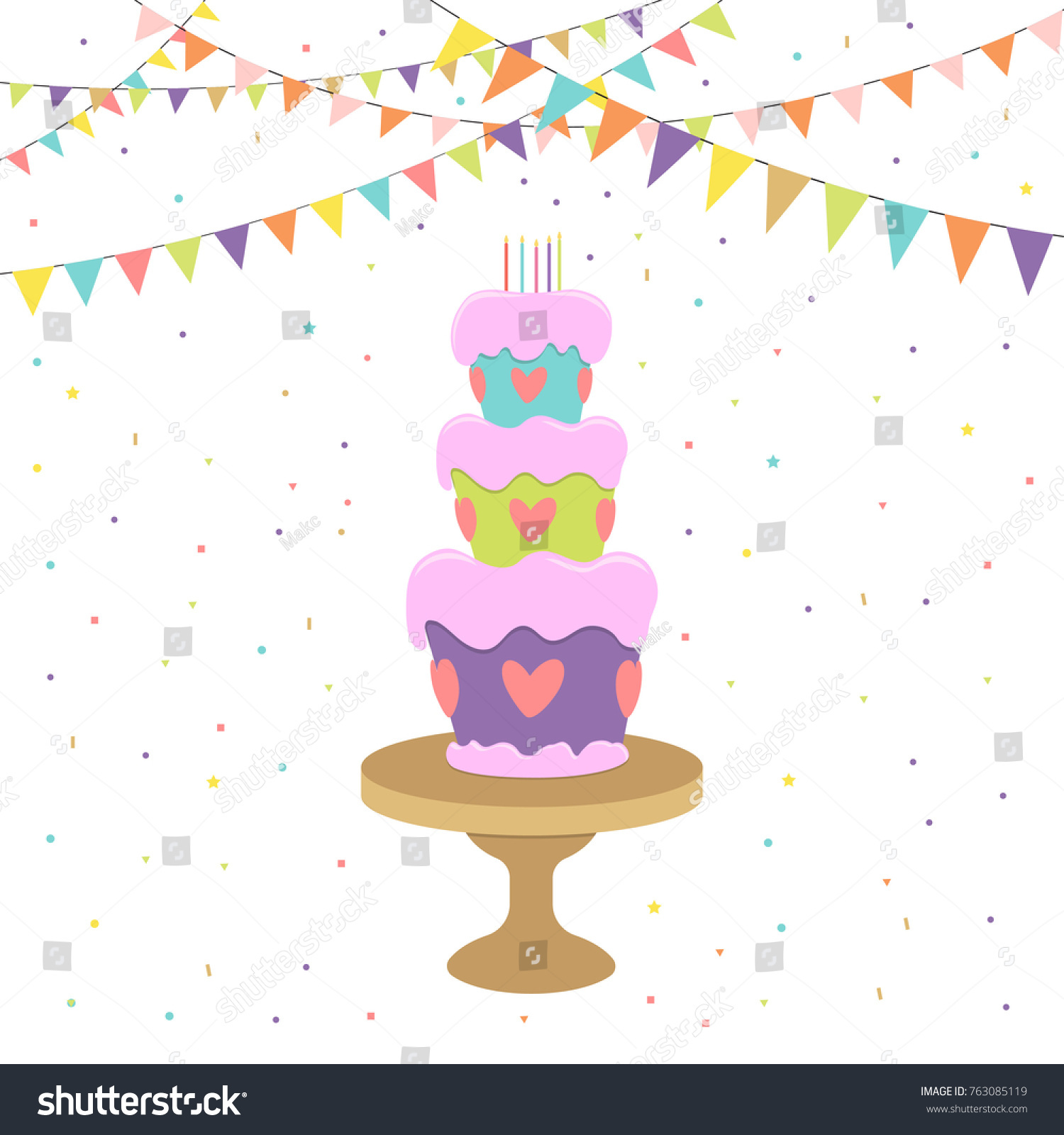 Greeting Invitation Card Birthday Cake On Stock Vector 763085119 ...