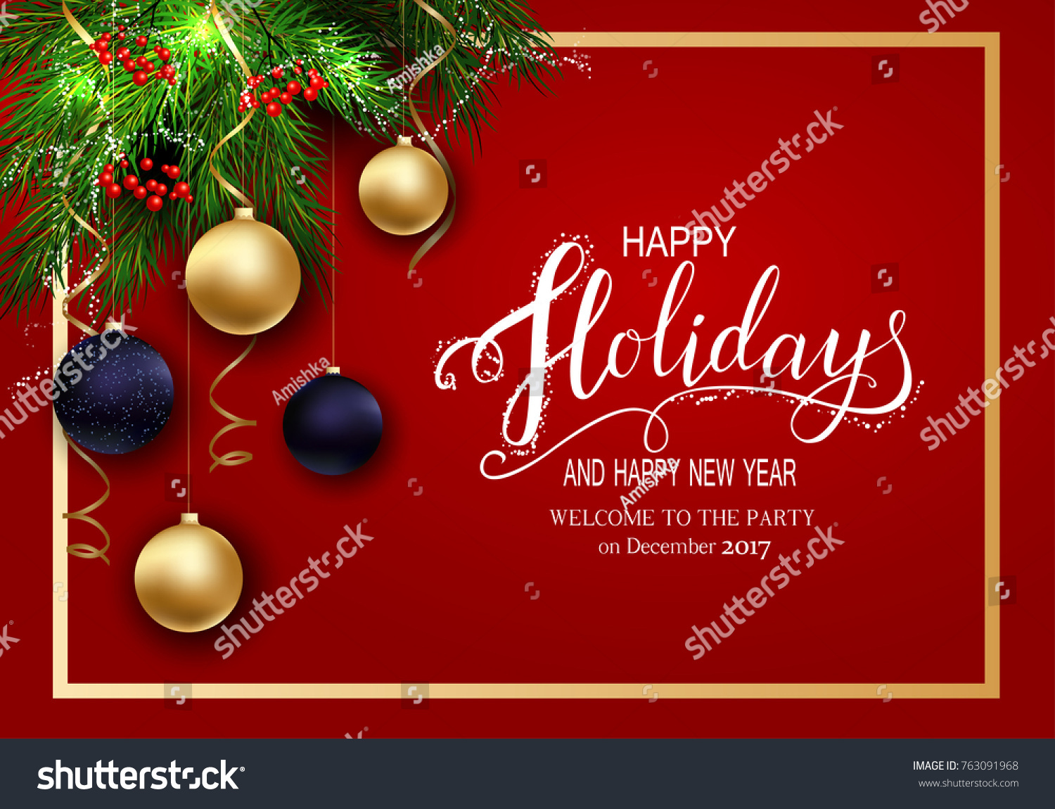 Holidays Greeting Card Winter Happy Holidays Stock Vector 763091968