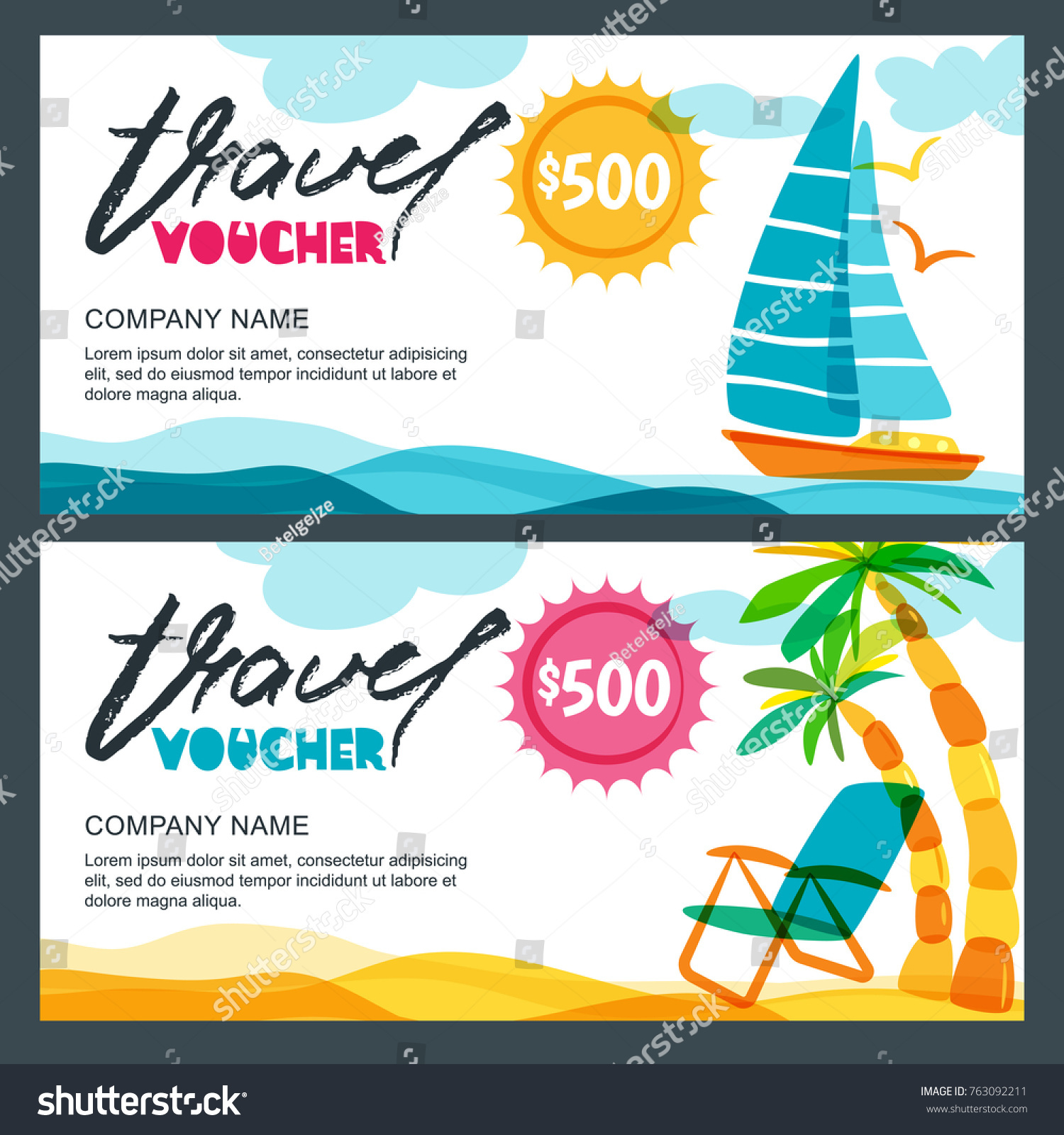 Vector Gift Travel Voucher Template Tropical Stock Vector Royalty