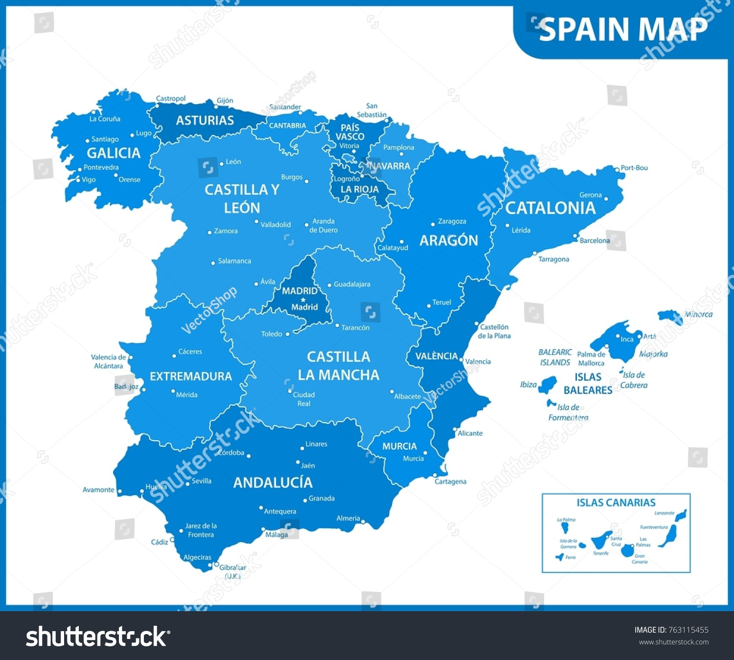Detailed Map Spain Regions States Cities Stock Vector 2018