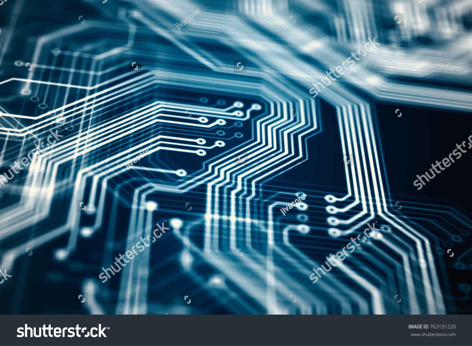 3 D Rendering Circuit Board Futuristic Server Stock Illustration With Components Royalty Free Photos Image Code Processing Orange Green Blue Technology