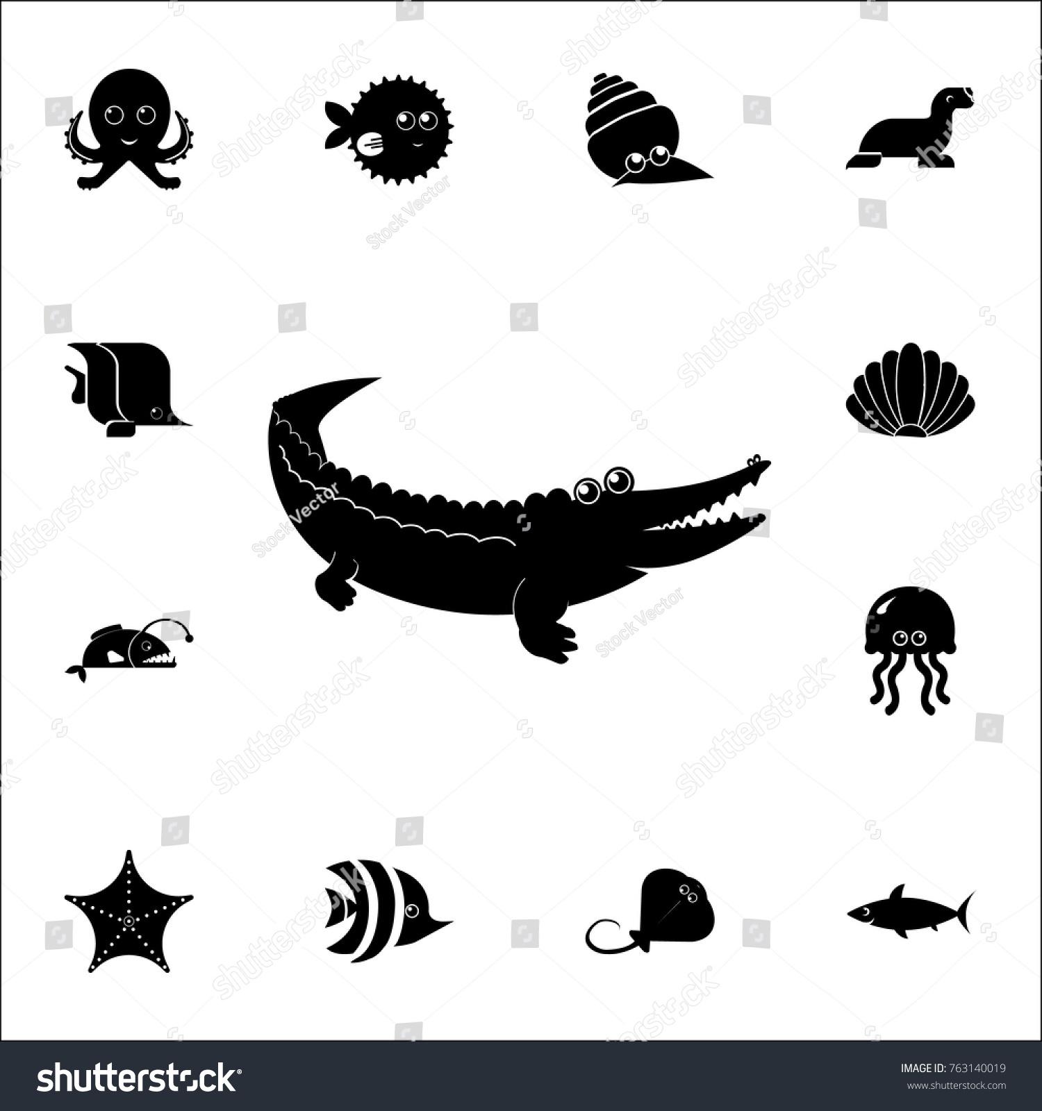 a28a80c632309 crocodile icon. Set of cute aquatic animal icons. Web Icons Premium quality  graphic design. Signs