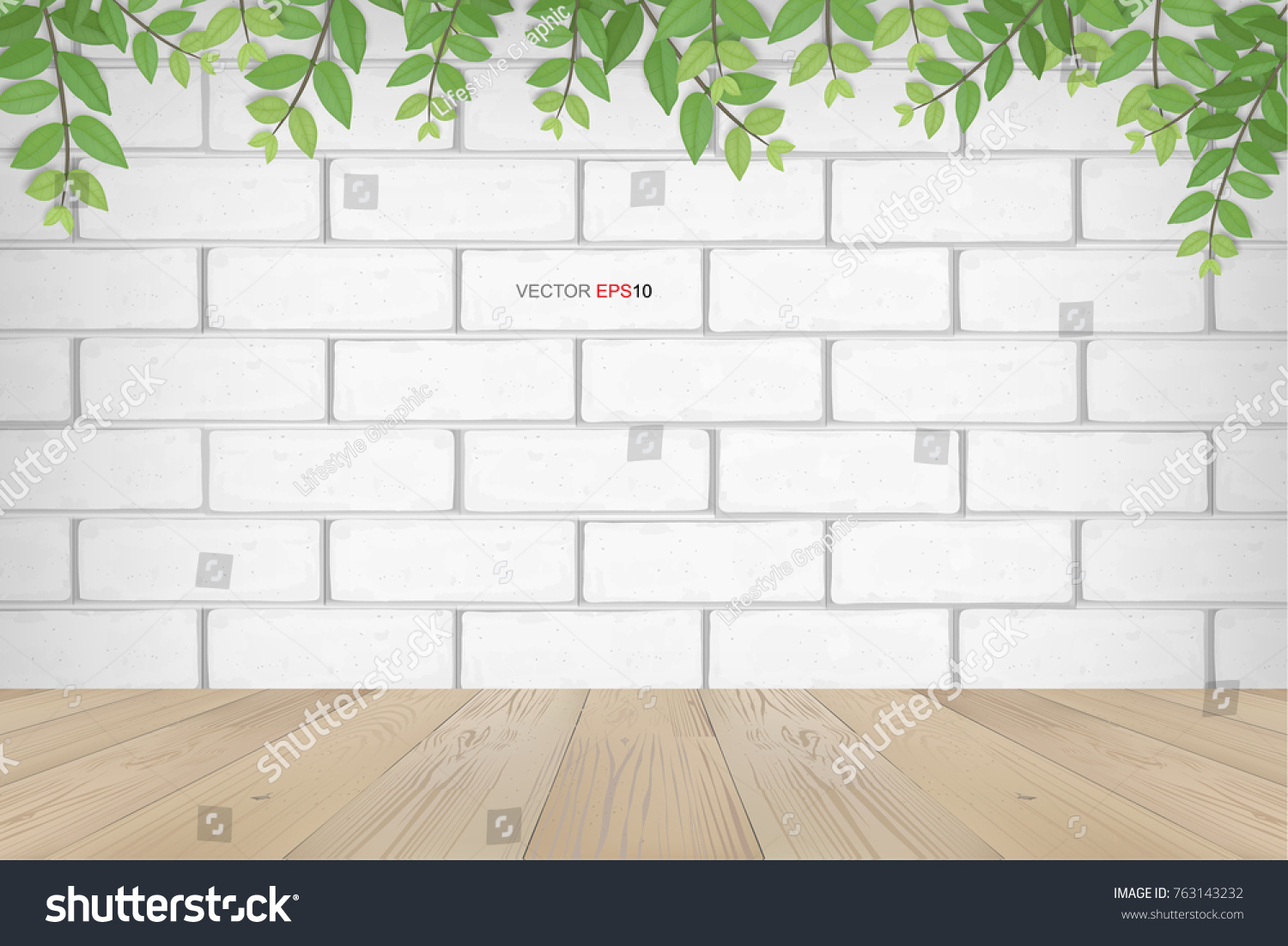 empty room space background and framing of green leaves with white brick wall and wooden floor
