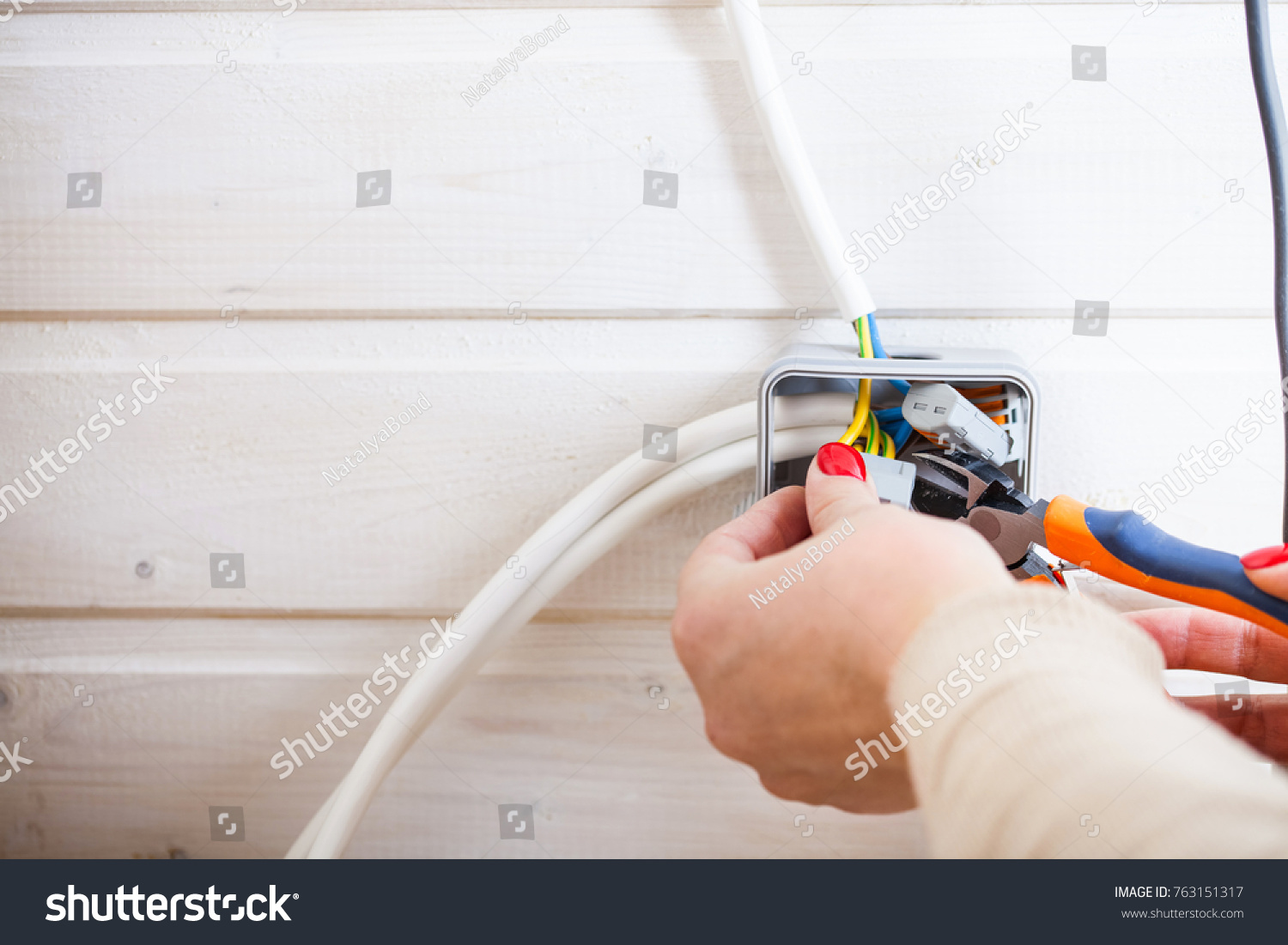 Connection Wires Plug House Repair Female Stock Photo Edit Now Wiring A Of In The Hands Electric
