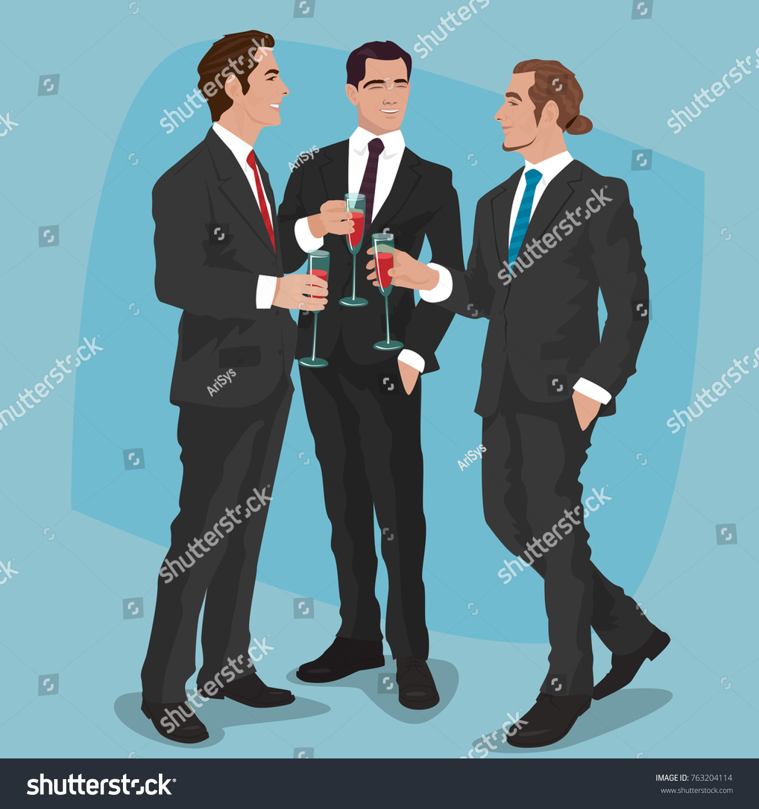 Three Fashionable Men Black Business Suits Stock Vector 763204114 ...