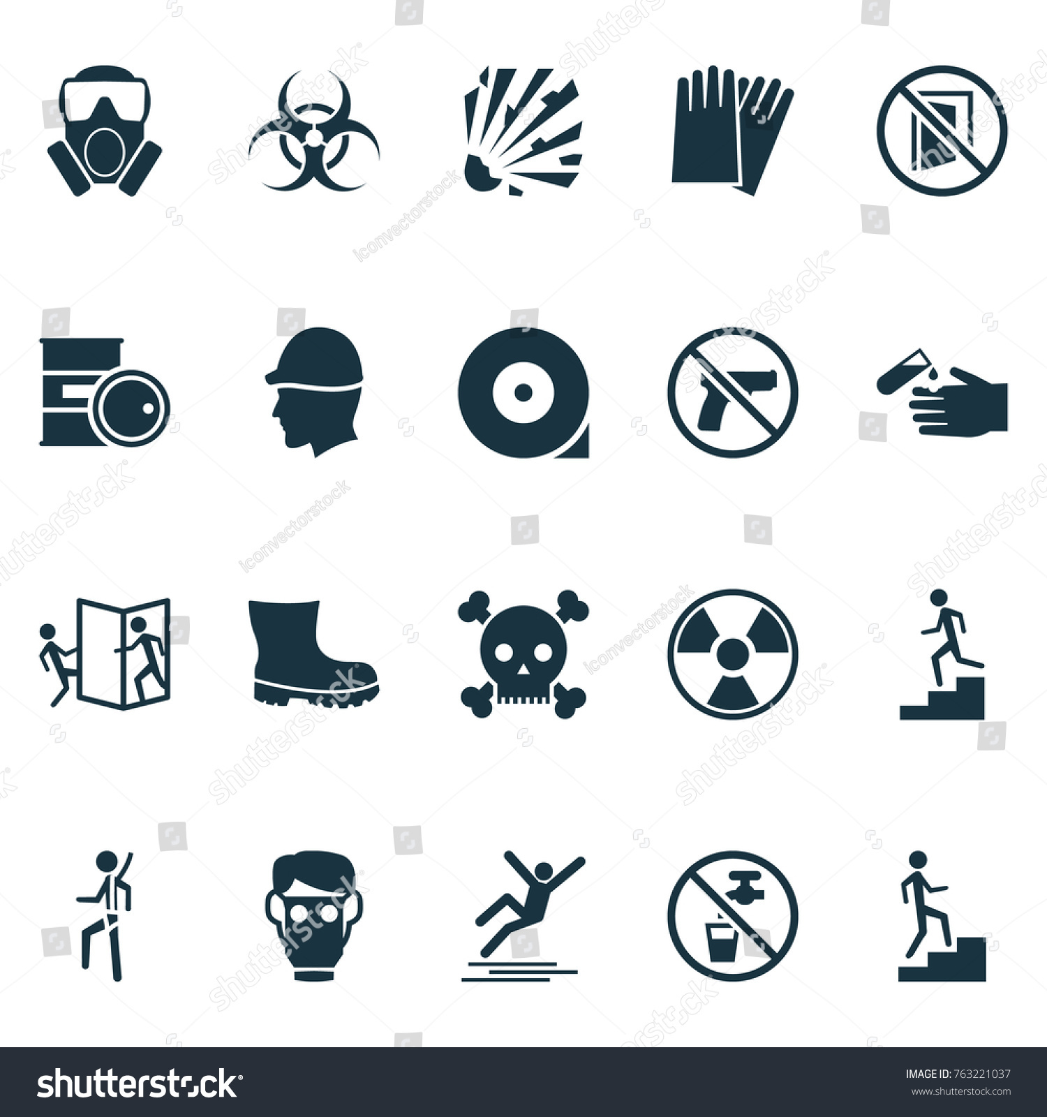 Safety Icons Set Chemical Storage No Stock Vector Royalty Free