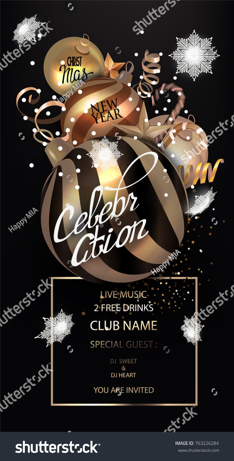 christmas and new year celebration invitation card with gold christmas balls and serpentine and white fallinf