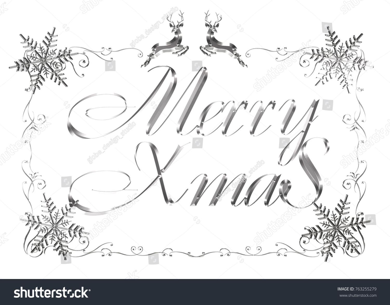 Silver Metallic Relieflike Merry Christmas Logo Stock Illustration ...