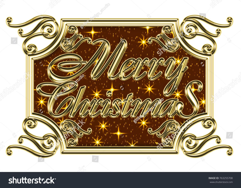 Golden Metallic Relieflike Merry Christmas Logo Stock Illustration ...