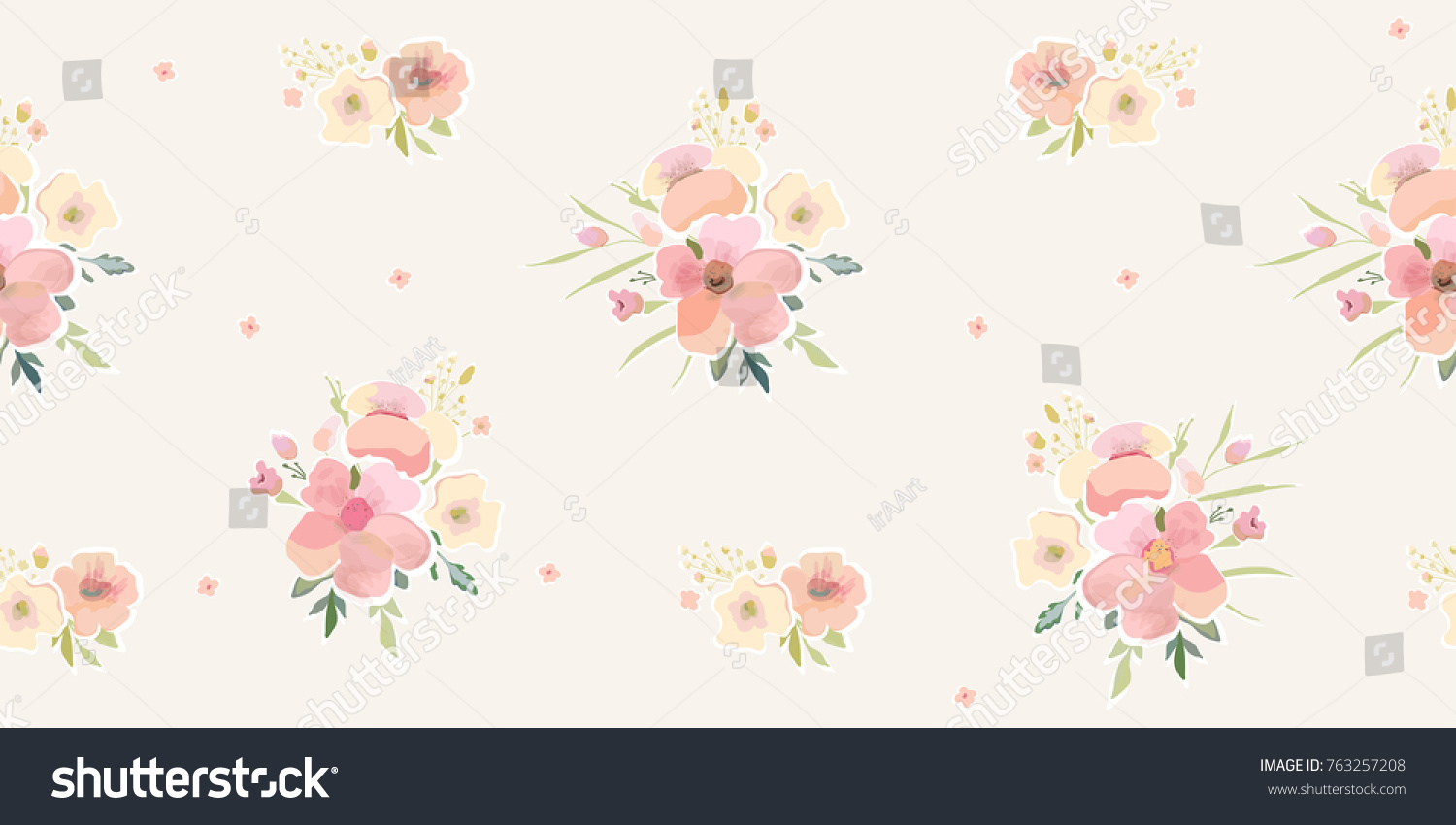 Watercolor Floral Pattern Cute Flowers Background Stock Vector