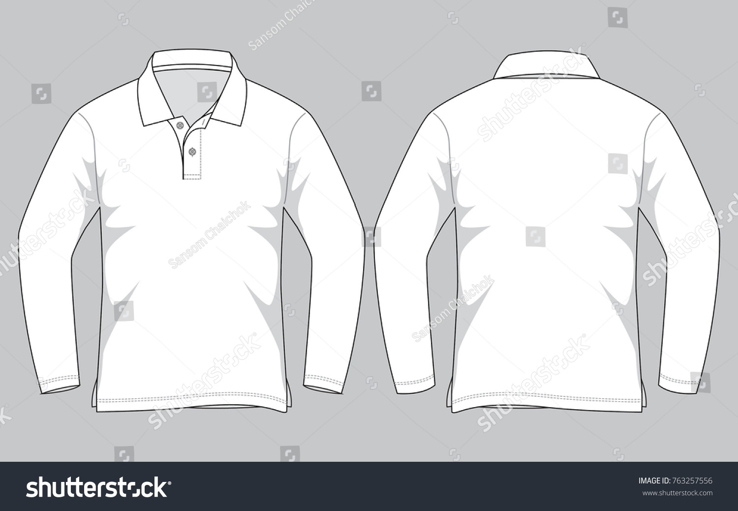 white long sleeve polo shirt template stock vector royalty free