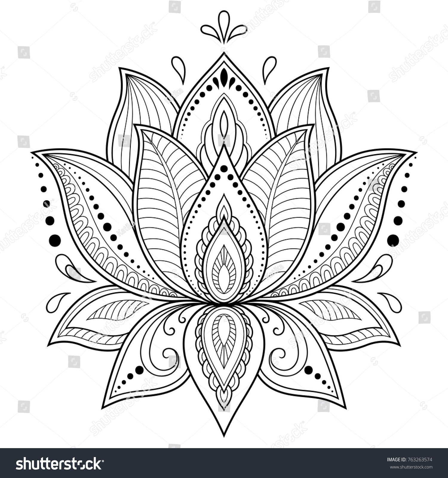 Mehndi lotus flower pattern henna drawing stock vector royalty free mehndi lotus flower pattern for henna drawing and tattoo decoration in ethnic oriental indian izmirmasajfo