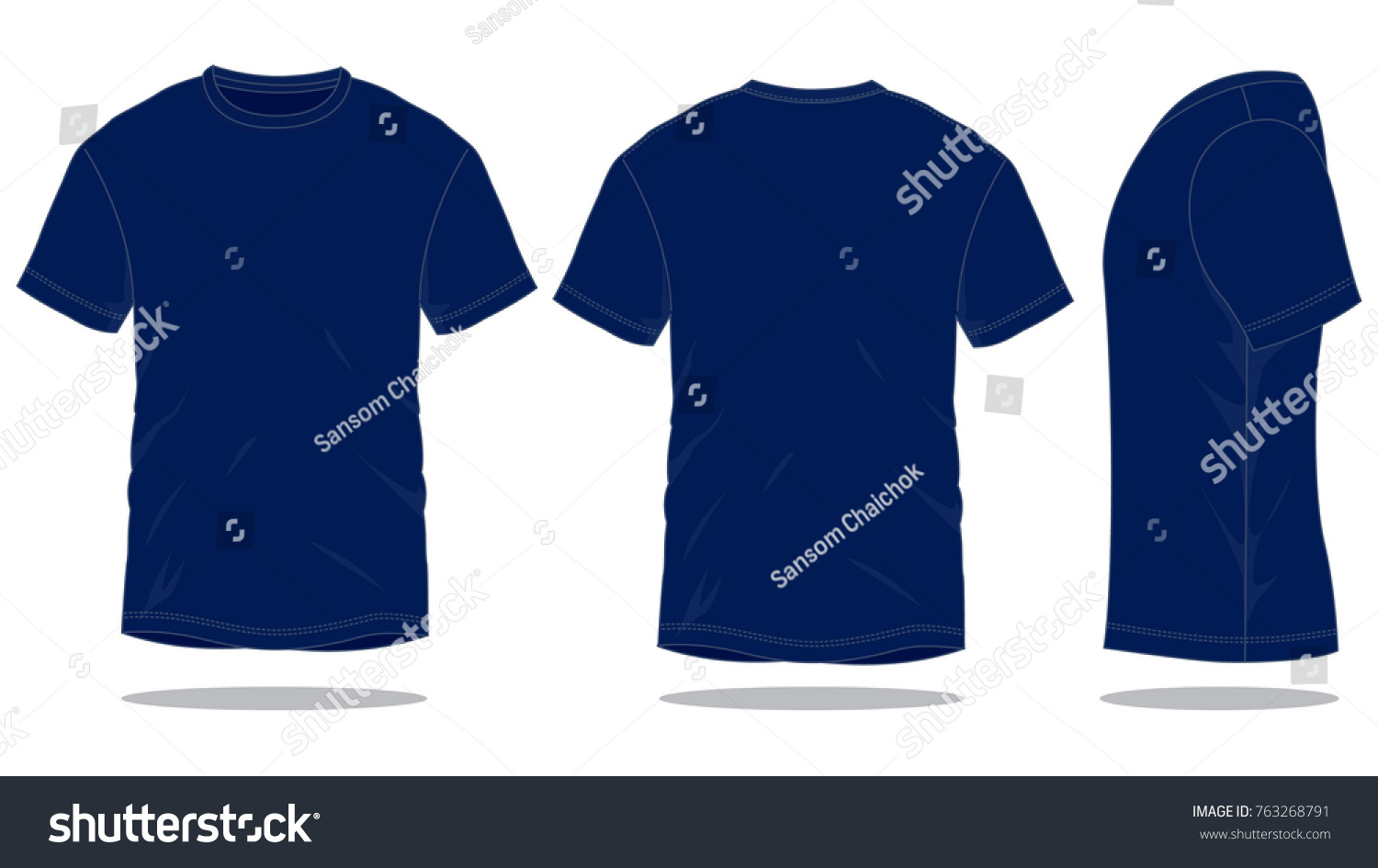 Navy Blue T Shirt Template Front Back Side Stock Vector 763268791 ...