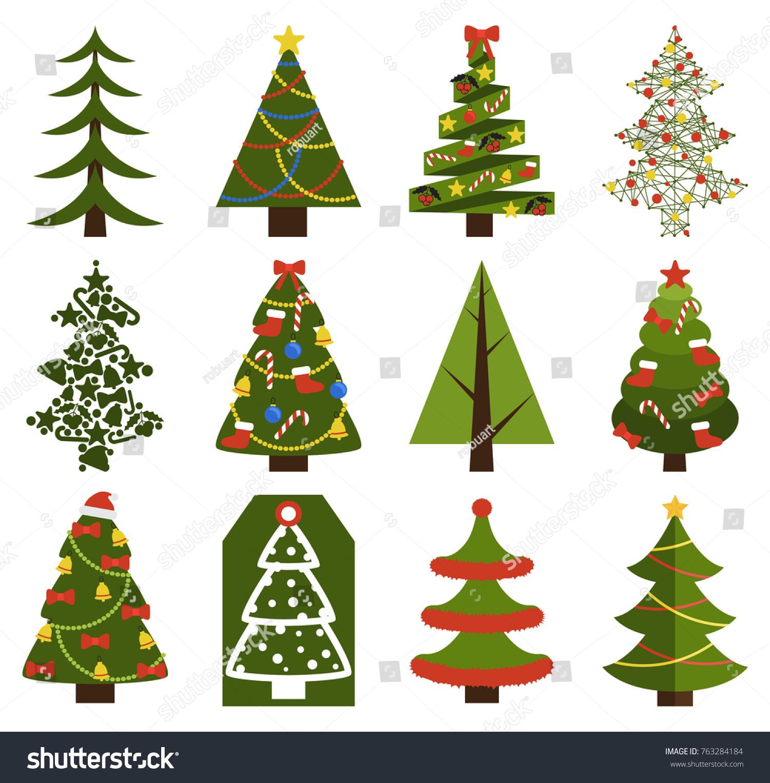 Big Set Christmas Tree Symbols Without Stock Vector 763284184
