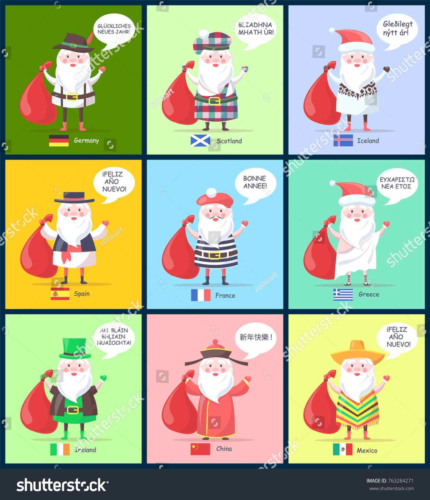 germany and scotland iceland and spain santa clauses with greeting of happy new year