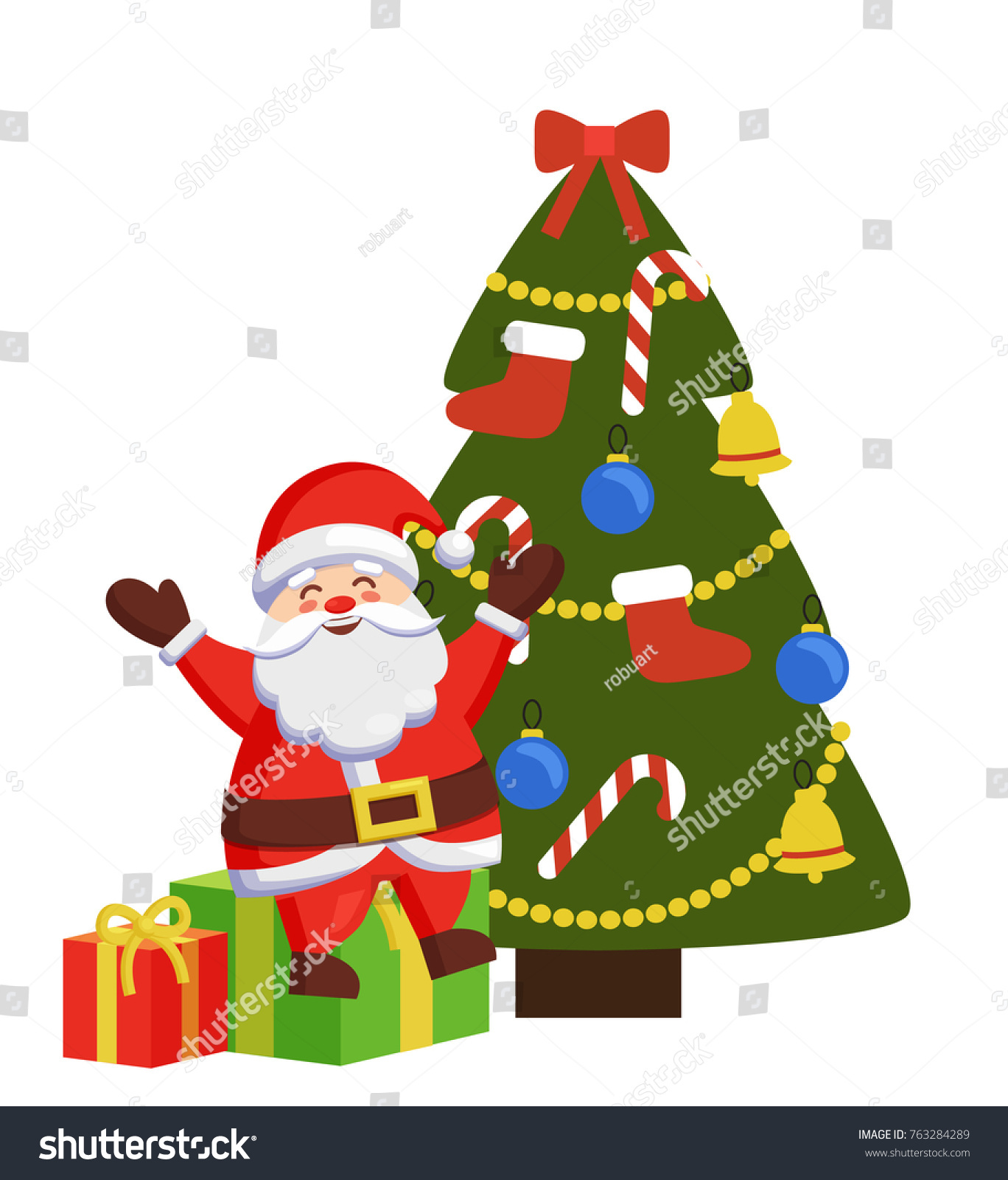 Happy santa sitting on gift boxes stock vector 763284289 happy santa sitting on gift boxes near decorated xmas tree vector illustration poster with christmas father biocorpaavc
