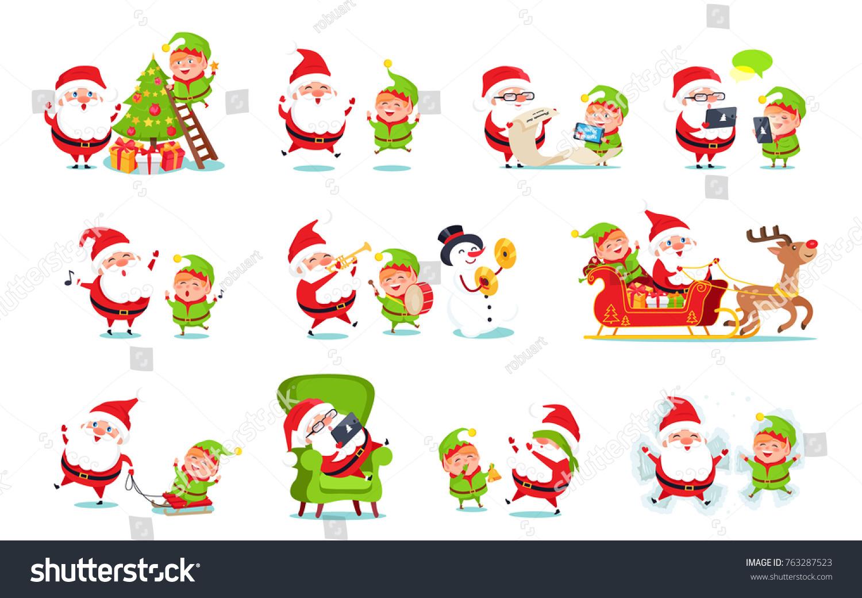 santa claus activities collection winter character with elf and snowman with reindeer doing job - Santa Activities