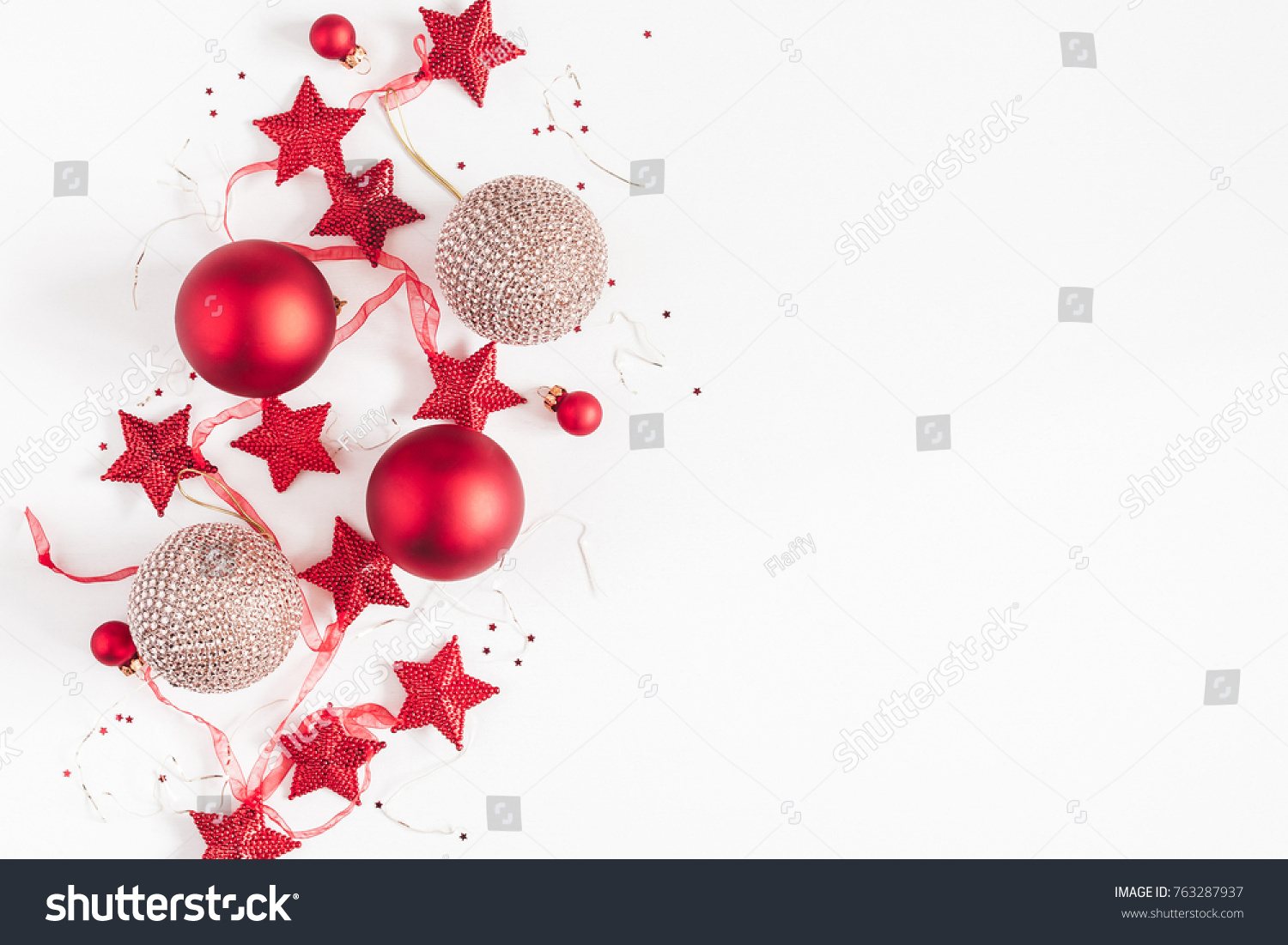 Christmas composition. Christmas balls, garland, red and golden decorations on white background. Flat lay, top view, copy space #763287937