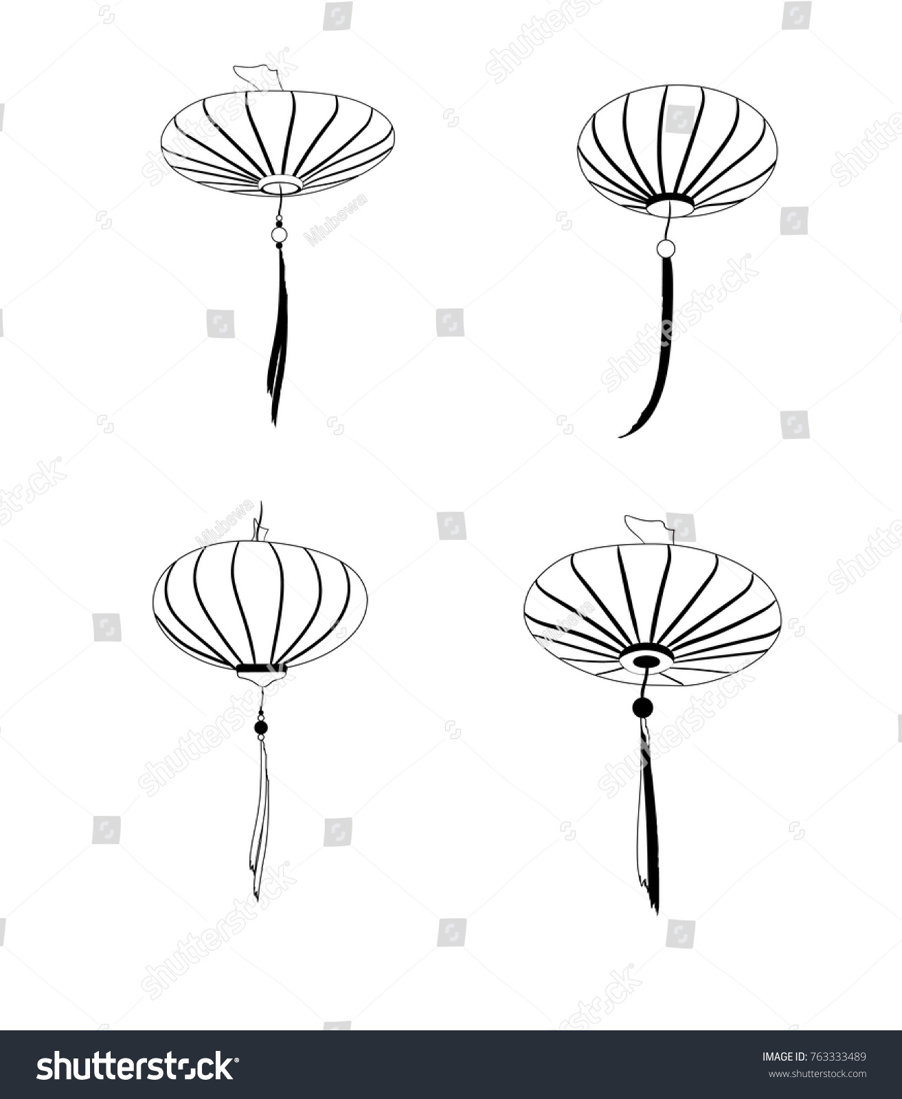 Set Of Four Chinese Lanterns Isolated On White BackgroundBlack And Colors Template