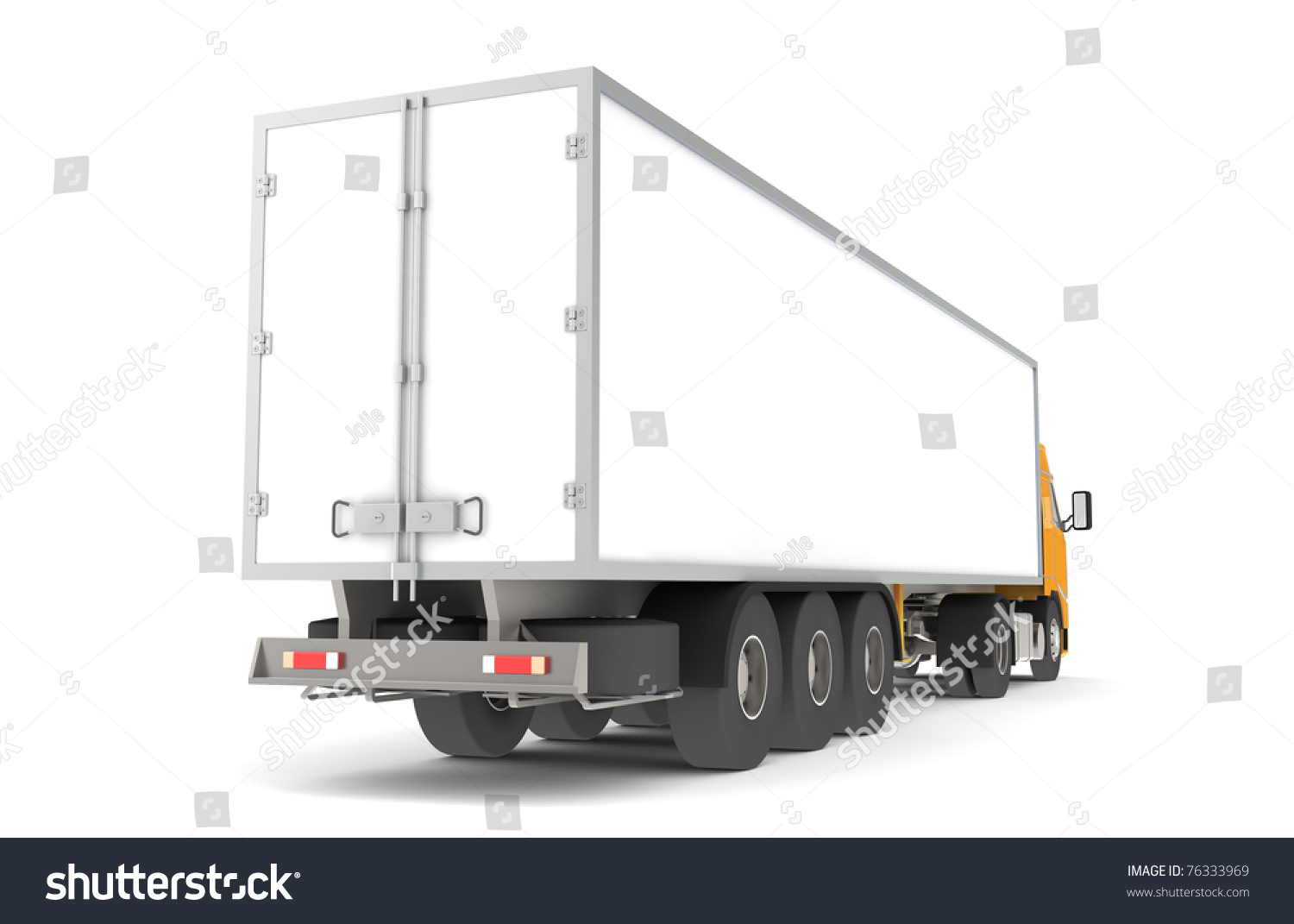 Logistics trucking rear side view trailer stock for Serie warehouse