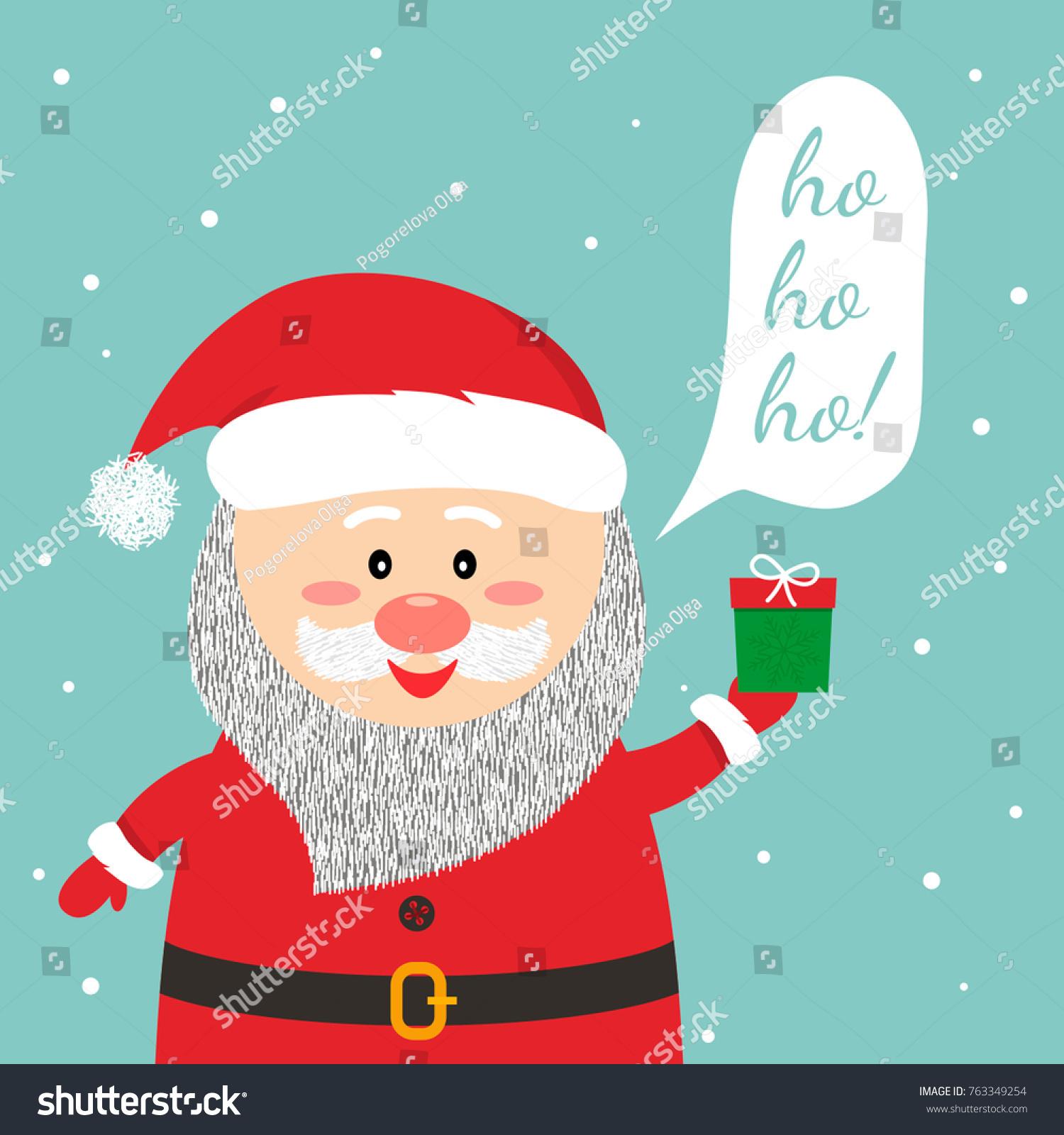 Funny Christmas Greetings Card Funny Santa Stock Vector Royalty