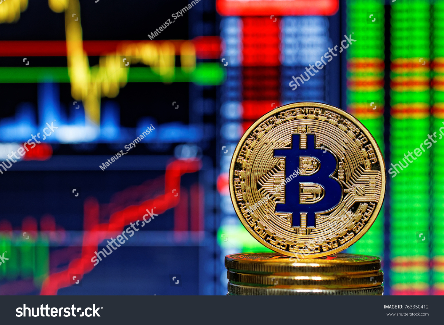 Gold bitcoin popular cryptocurrency on stack stock photo 763350412 gold bitcoin popular cryptocurrency on stack of bitcoins on stock market chart background biocorpaavc Images
