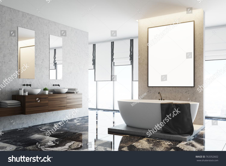 White Concrete Bathroom Interior Marble Floor Stock Illustration ...