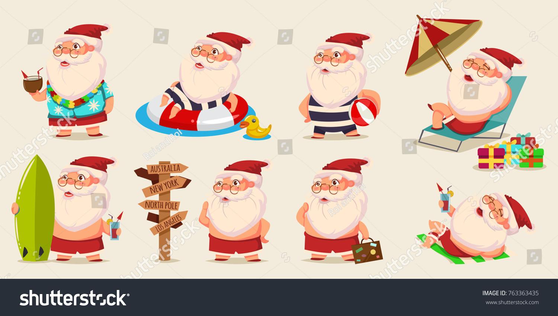 Image Vectorielle De Stock De Le Père Noël Dété En Short