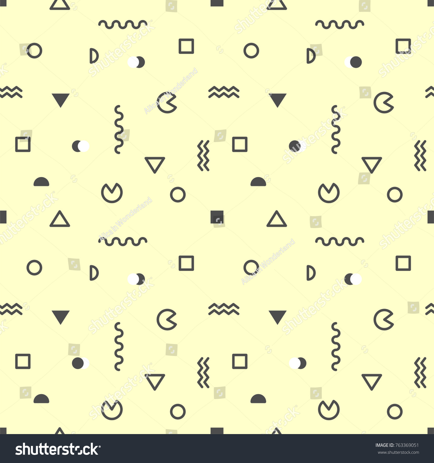 black geometric shapes on yellow background stock vector 763369051