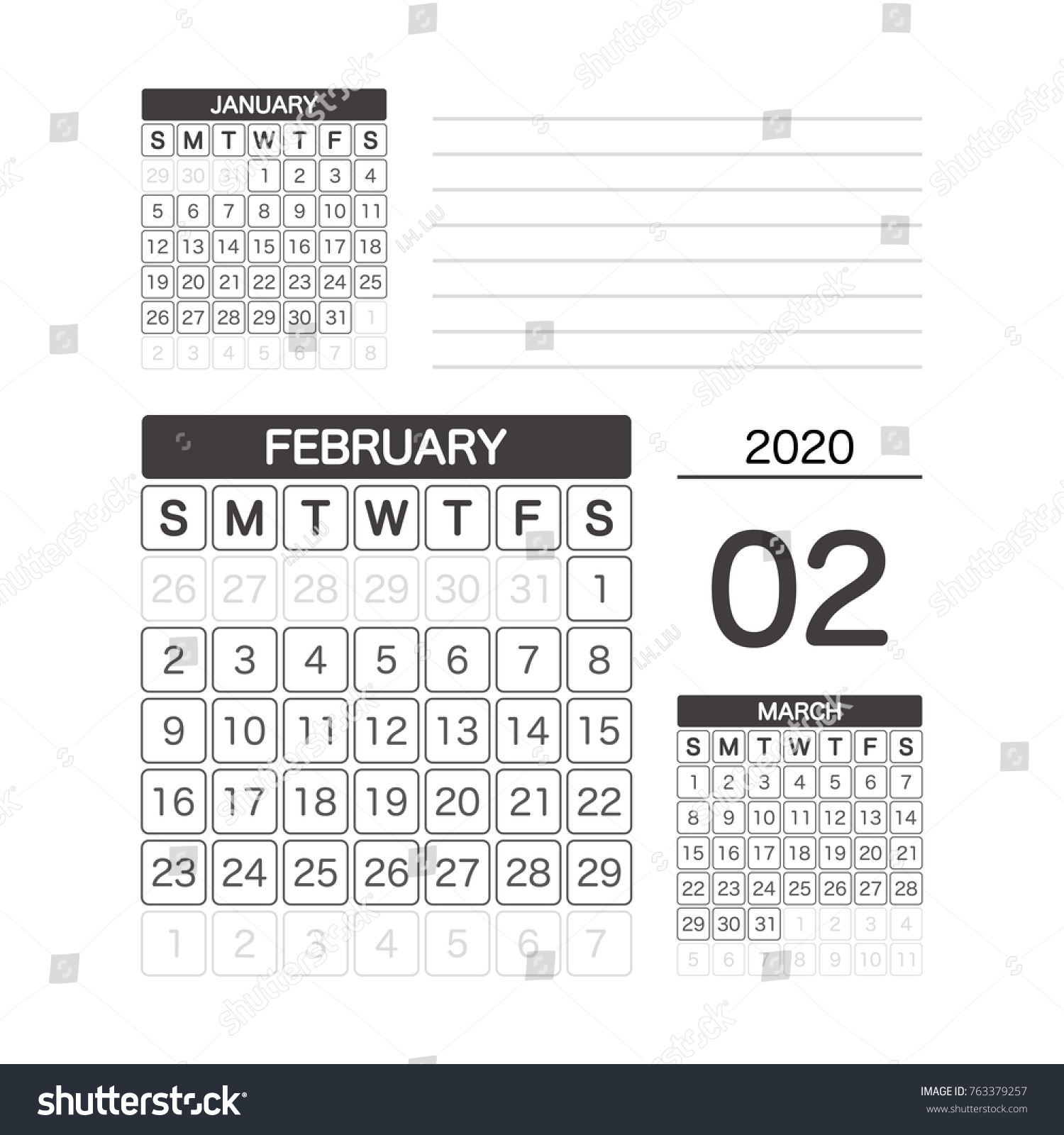 Calendar 2020 February And March.2020 February Calendar Planner Design Stock Vector Royalty Free