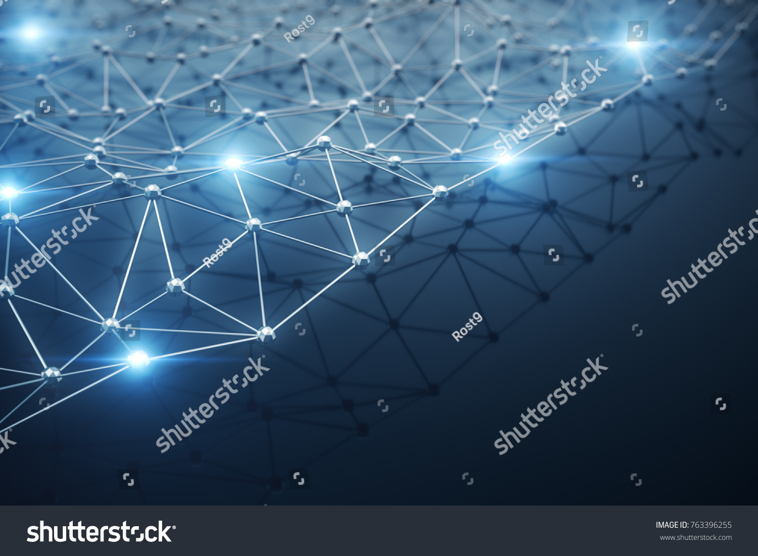 3D Illustration, Abstract background. Concept neural network and ...
